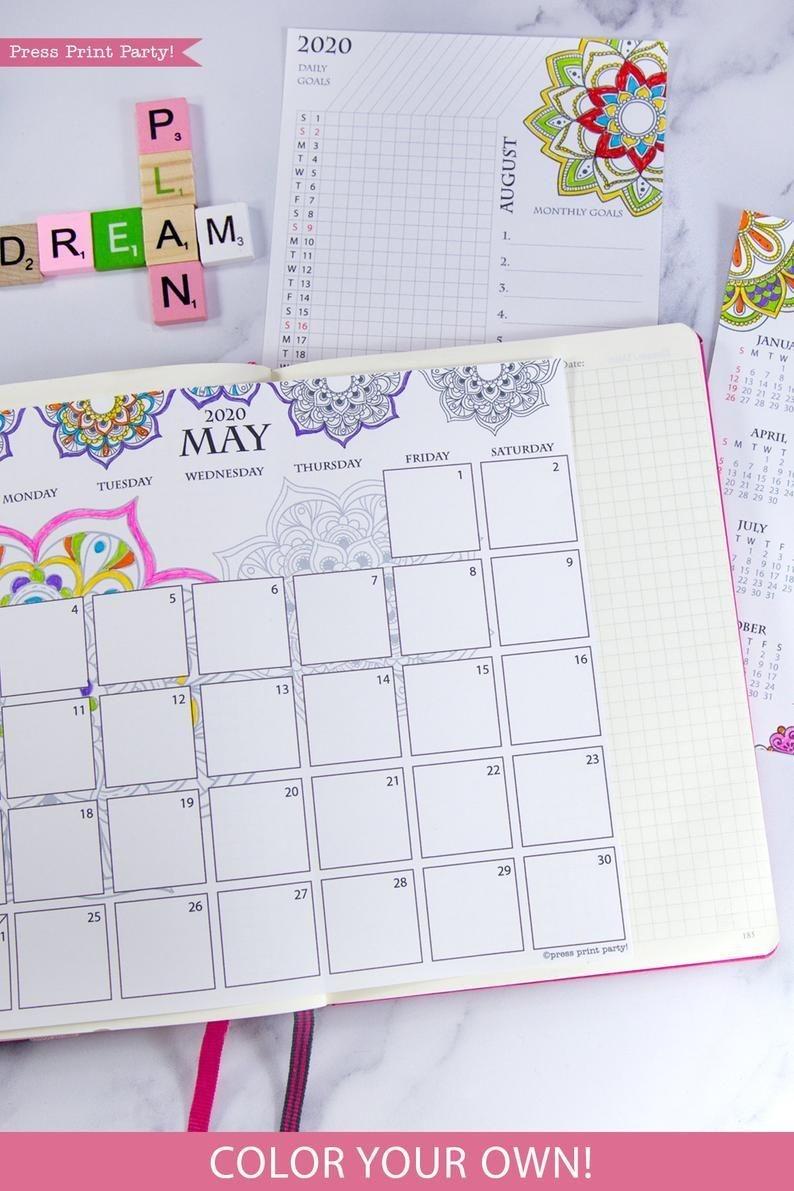 2020 Calendar Template Printable Set Mandala Bullet Journal