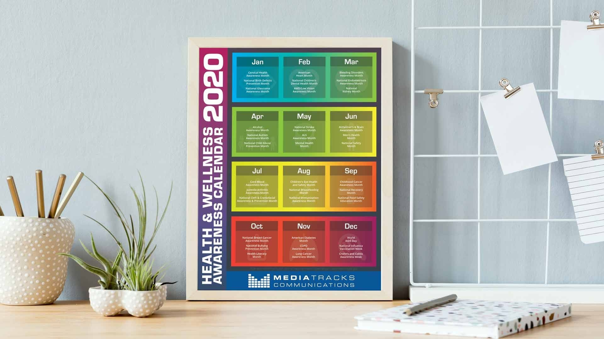 2020 health & wellness awareness calendar [infographic