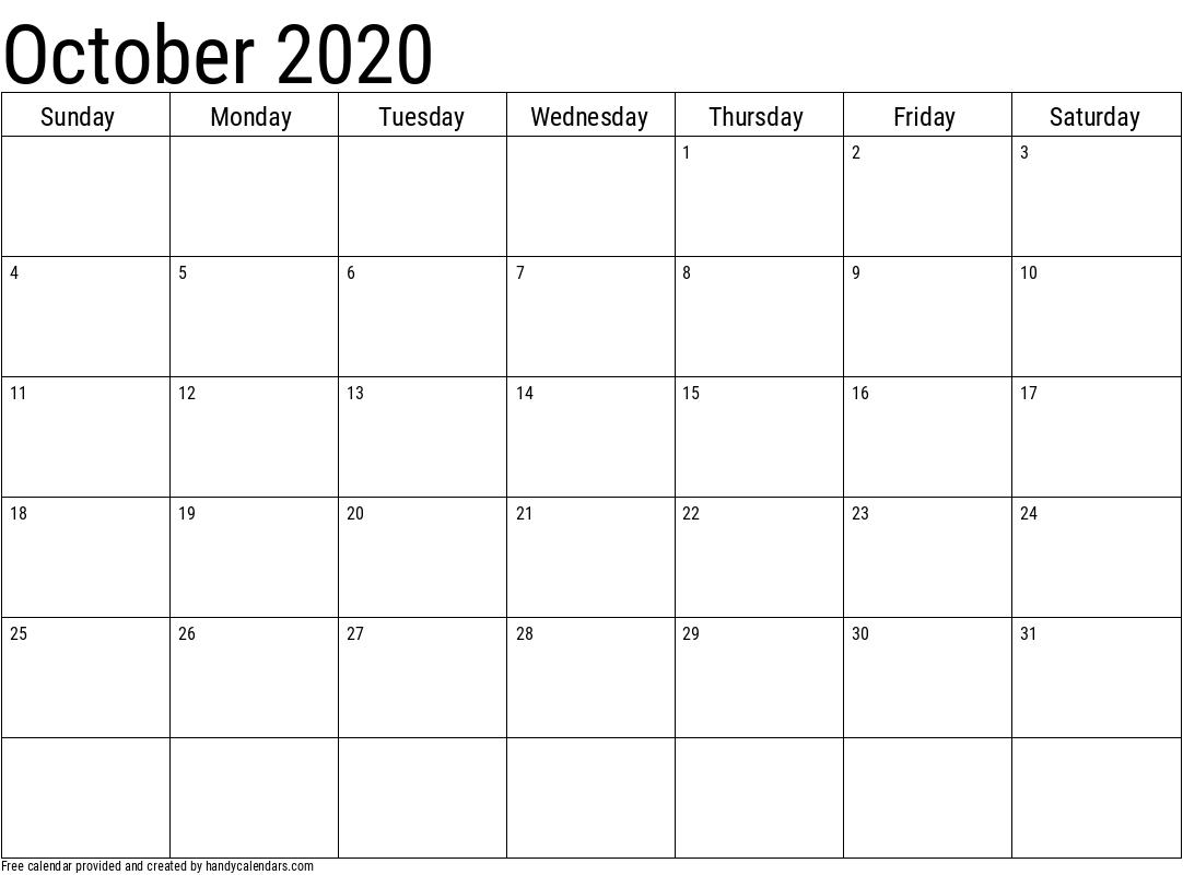 2020 October Calendars Handy Calendars