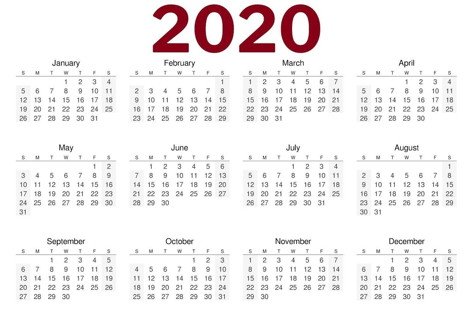 2020 one page calendar printable calendar 2020 print free