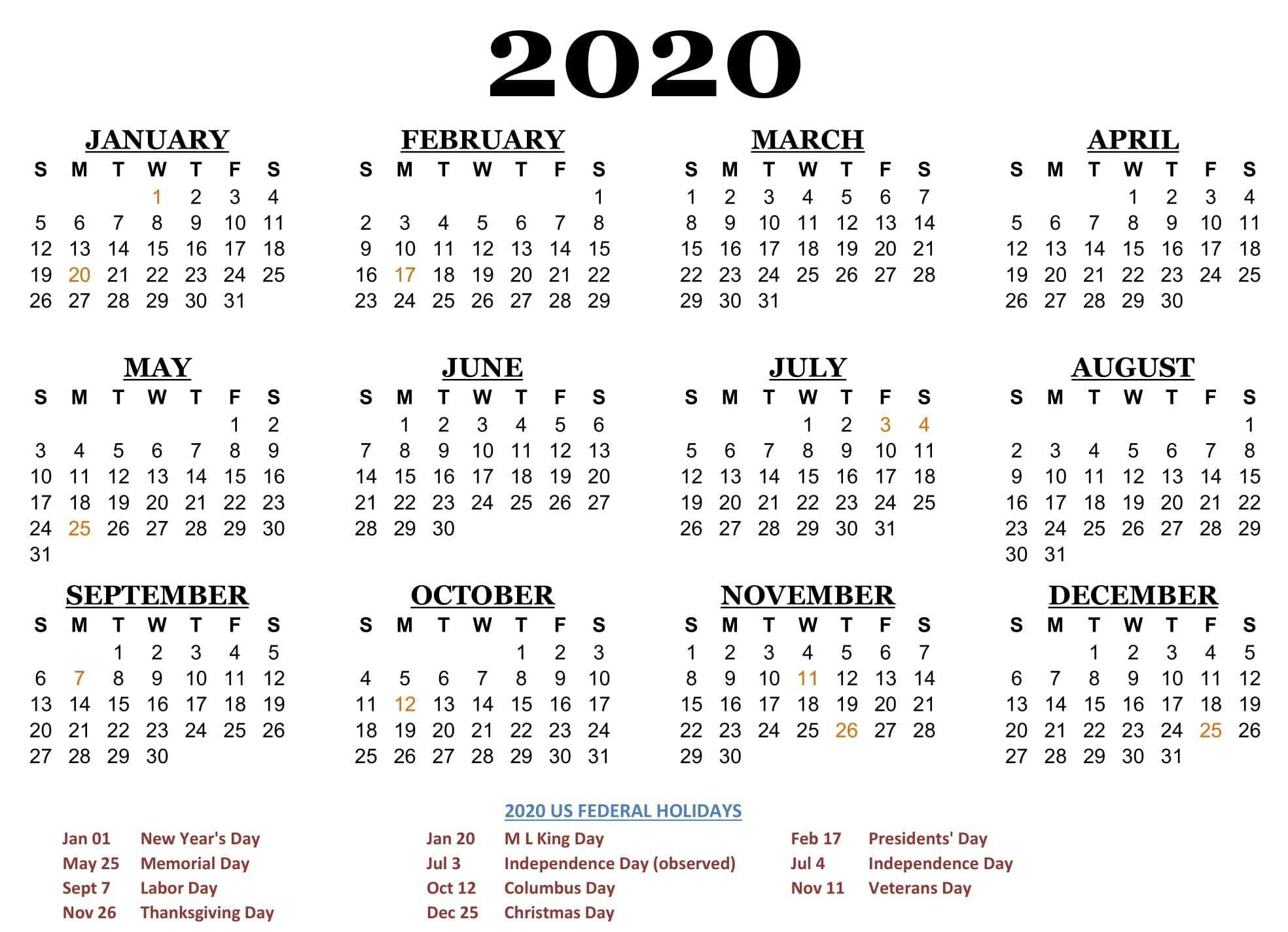 2020 One Page Calendar Printable Download | Calendarbuzz