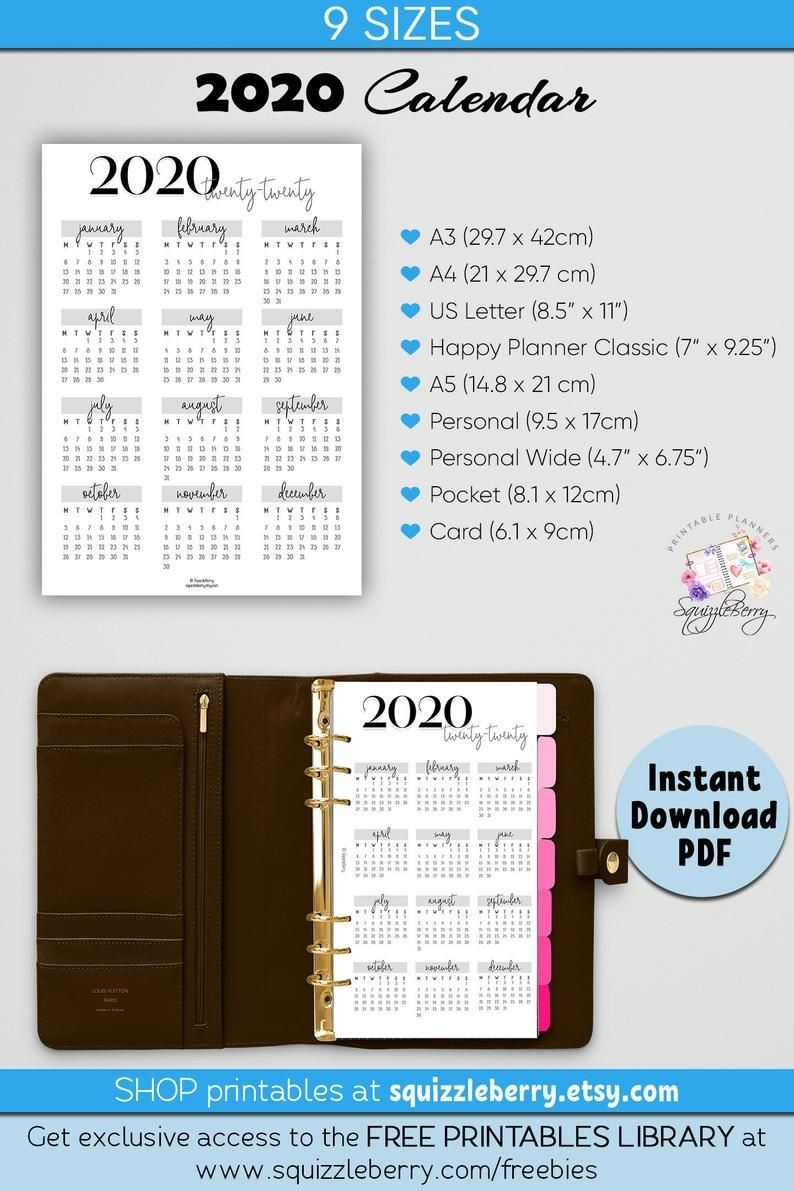 2020 Planner Printable Calendar, 2020 Calendar, Comes With 9