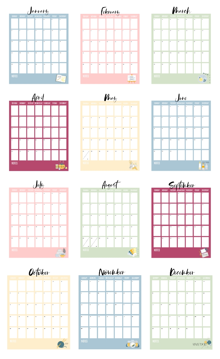2020 Printable Calendar Pages (free!) Gluesticks Blog