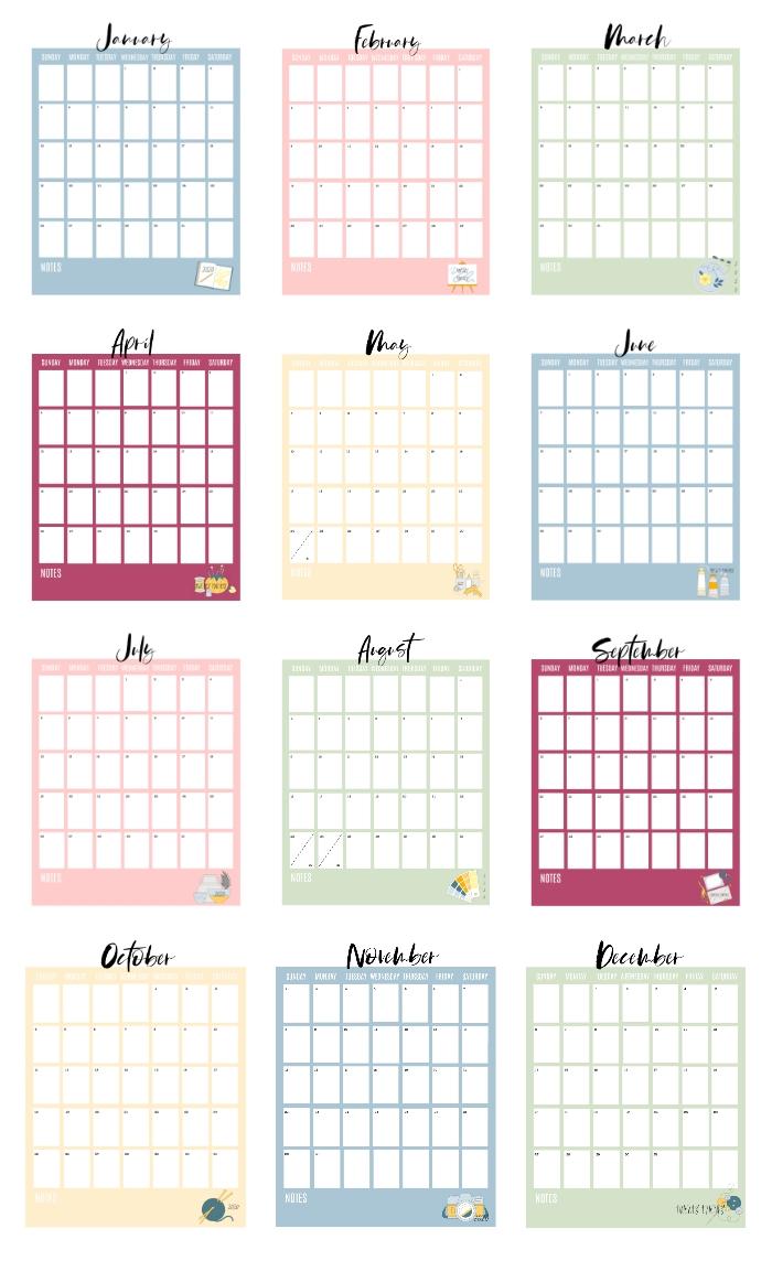 2020 Printable Calendar Pages (free!) Gluesticks Blog