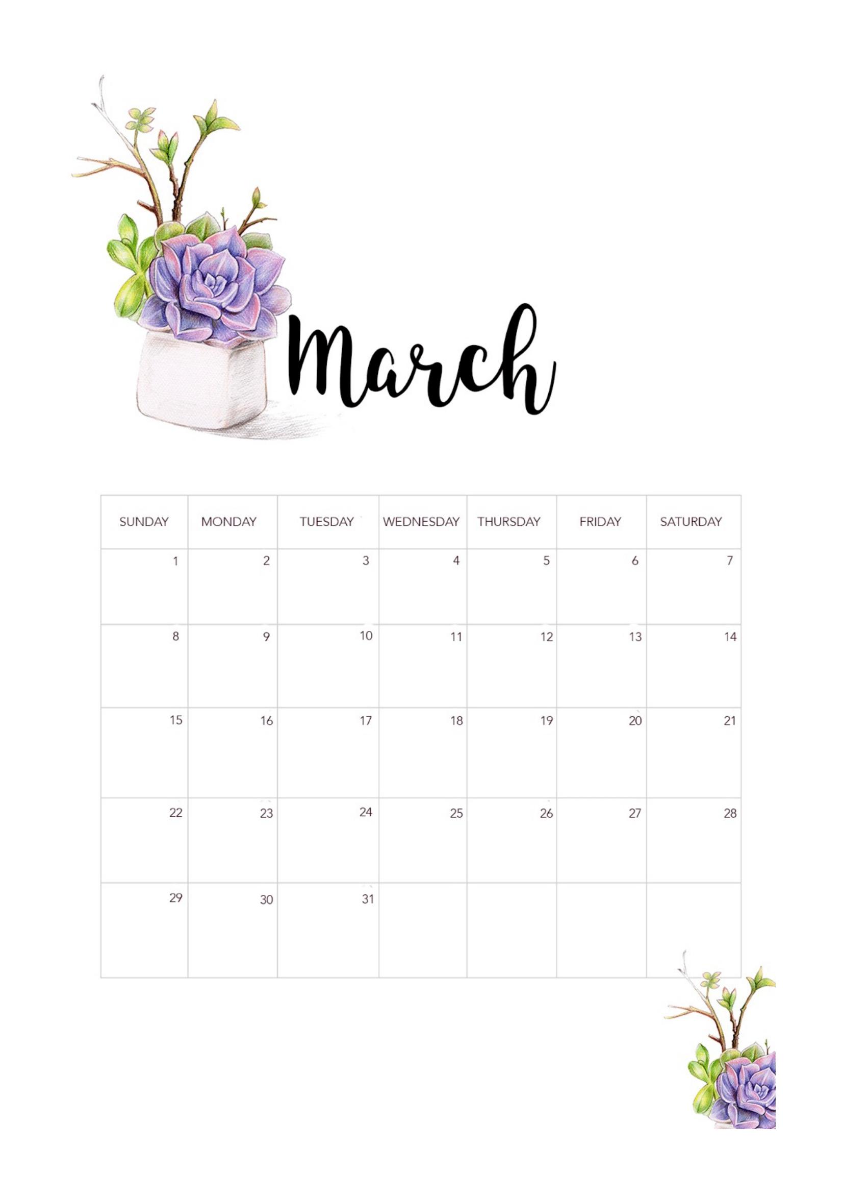 2020 Printable Calendar, Watercolor Flowers Calendar 2020