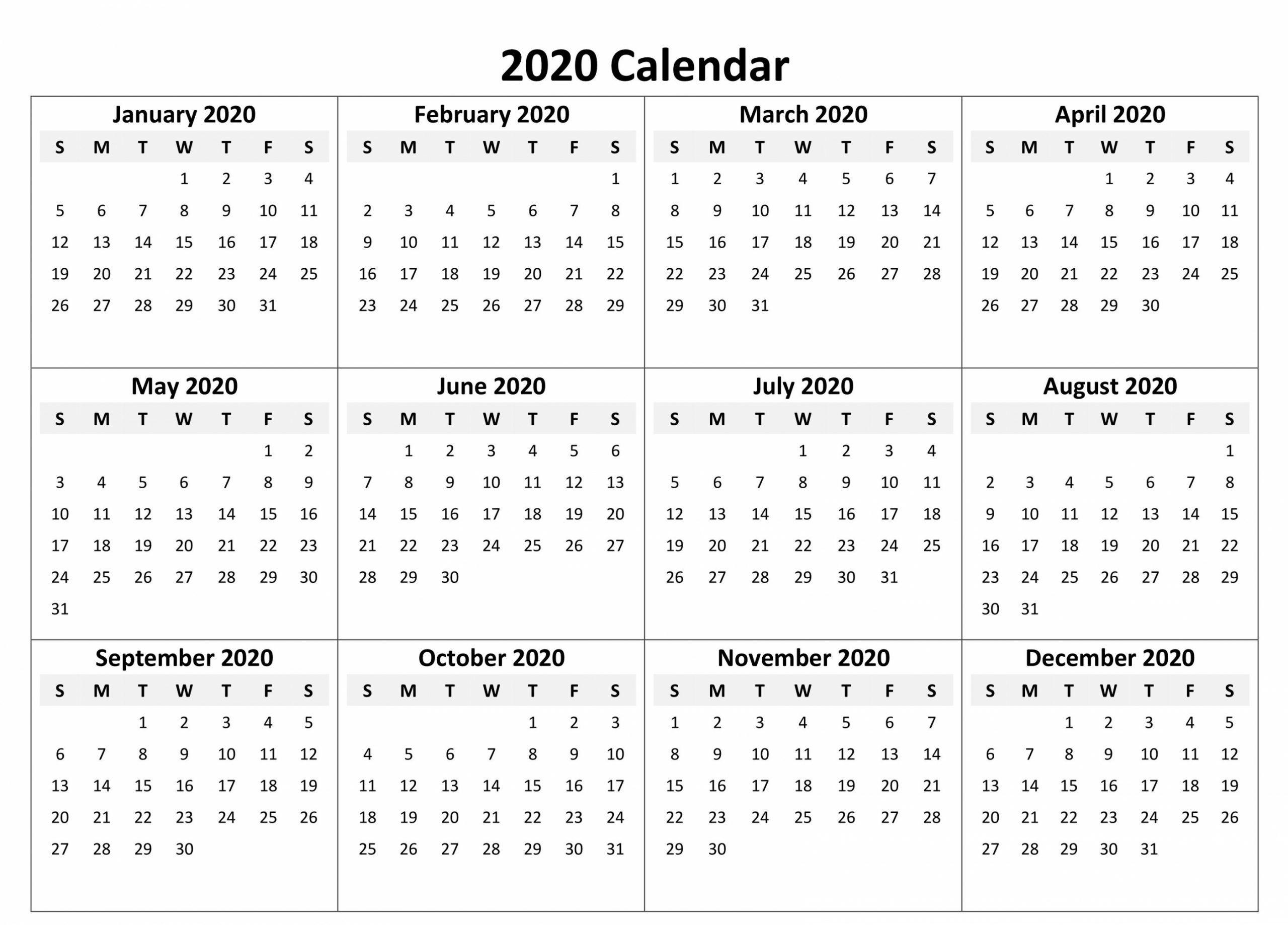 2020 year printable calendar in 2020 | printable calendar