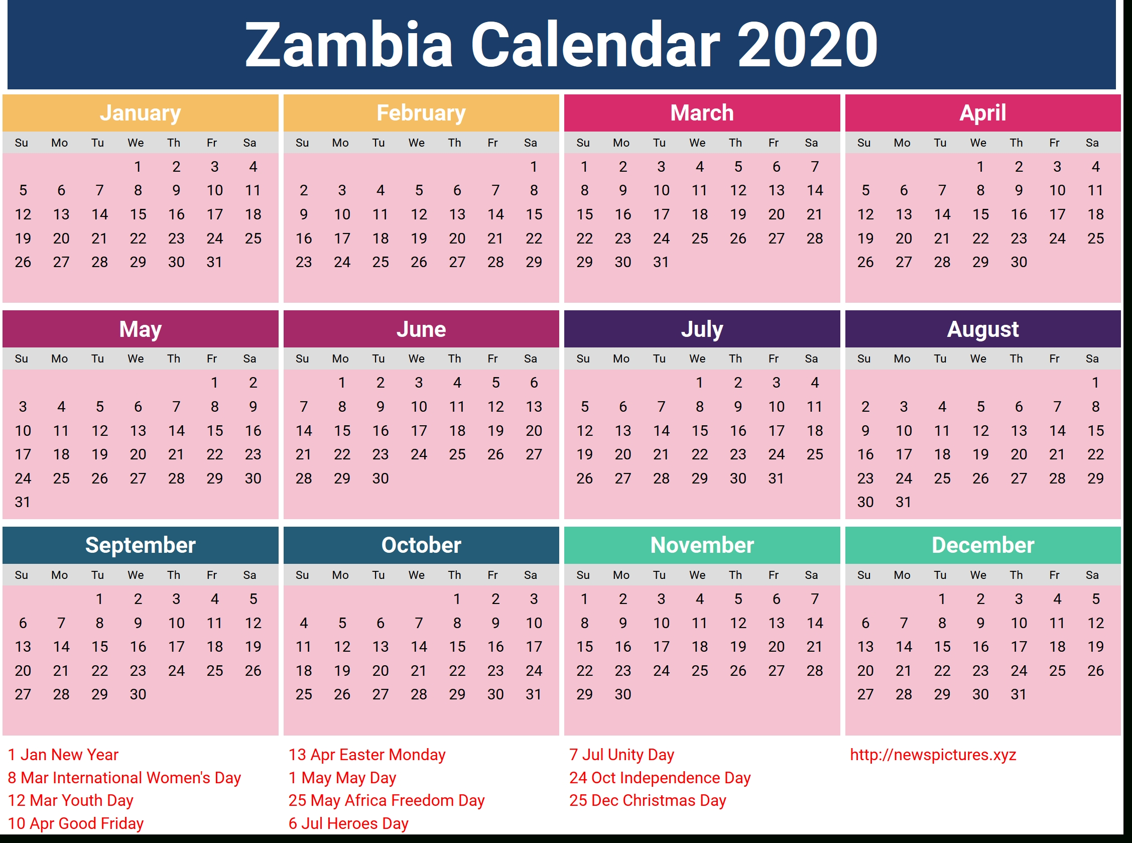 2020 Zambian Calendar | Print Calendar Page