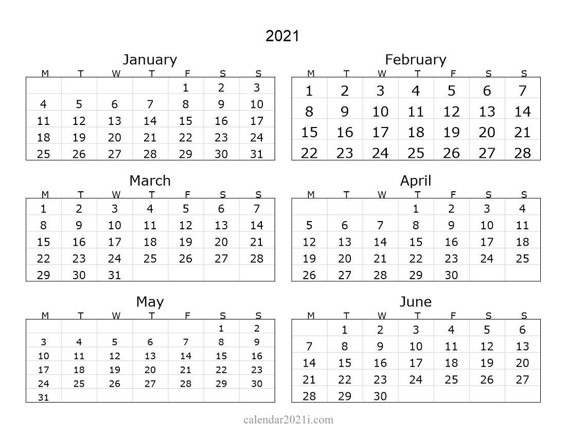 2021 6 months landscape calendar in 2020 | monthly calendar
