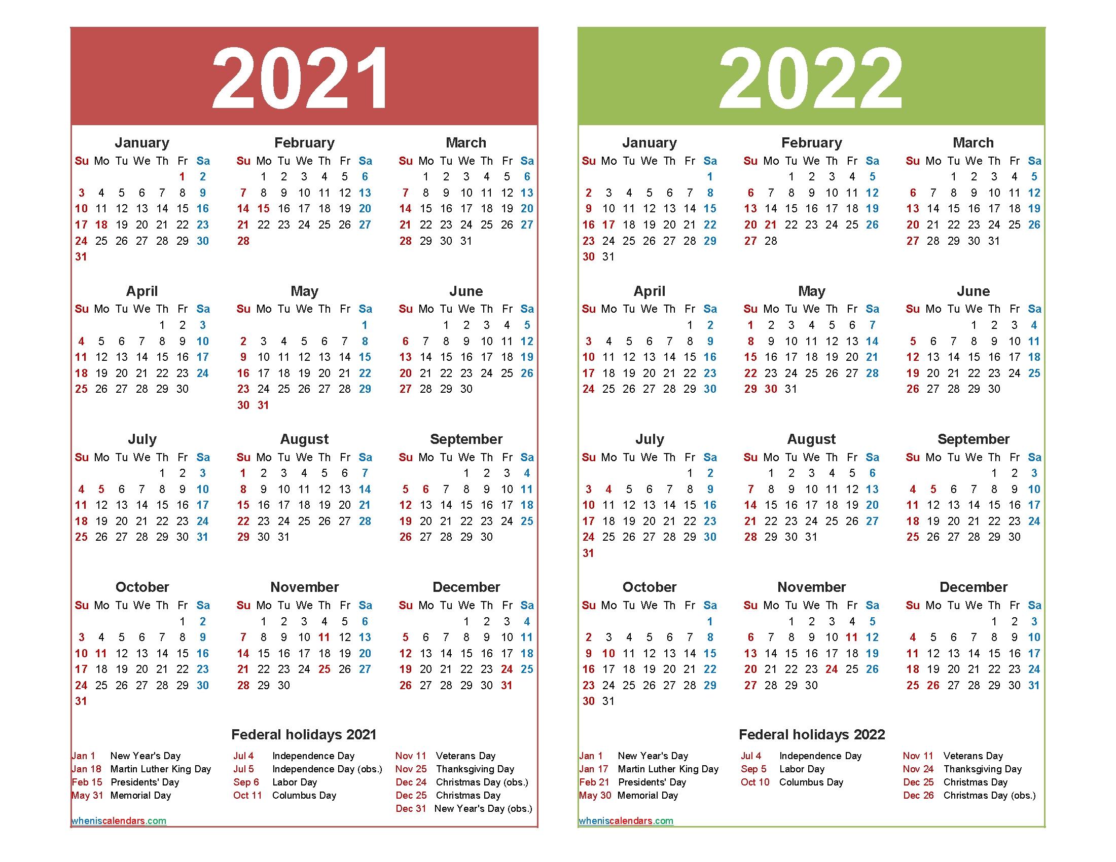 2021 And 2022 Calendar Printable Word, Pdf – Free Printable