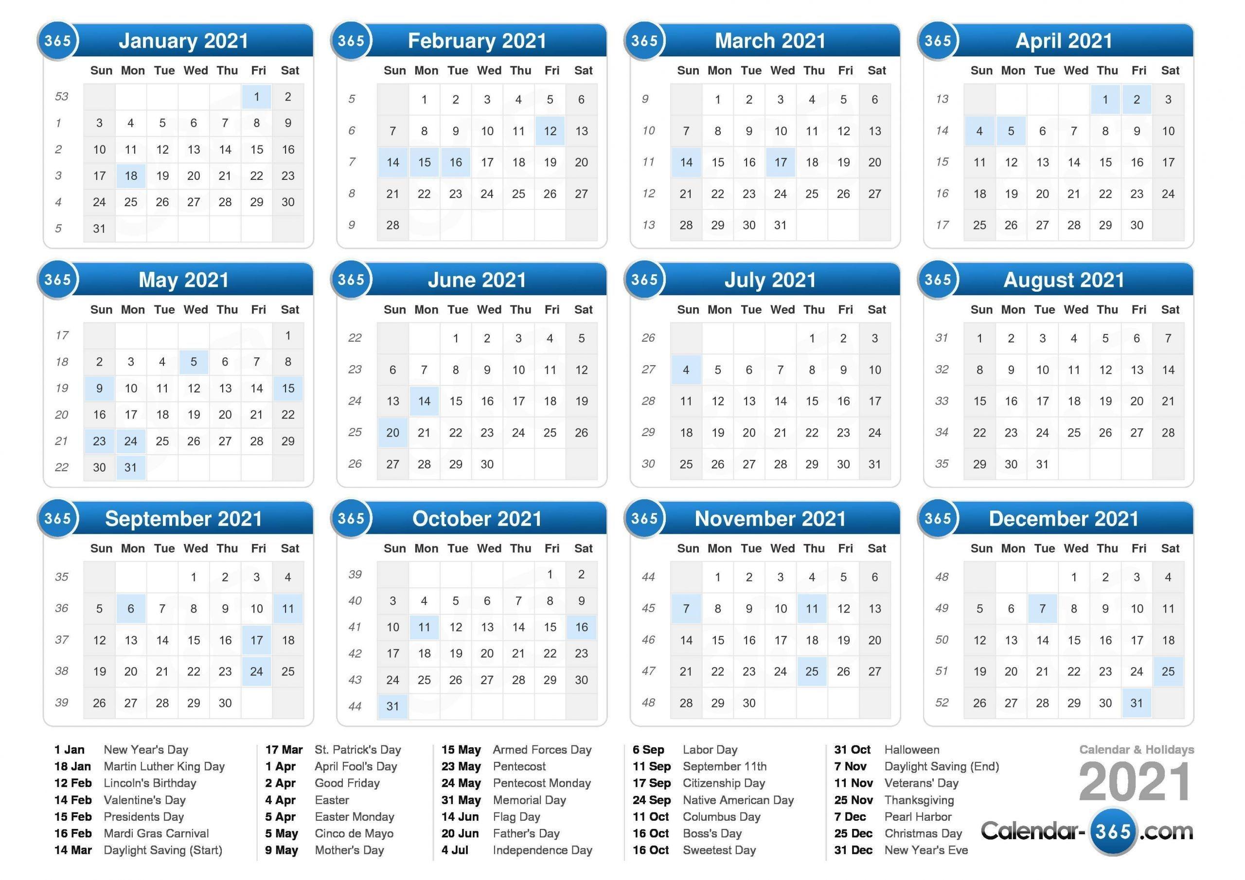 2021 calendar 2021 calendar with week numbers free 365 days