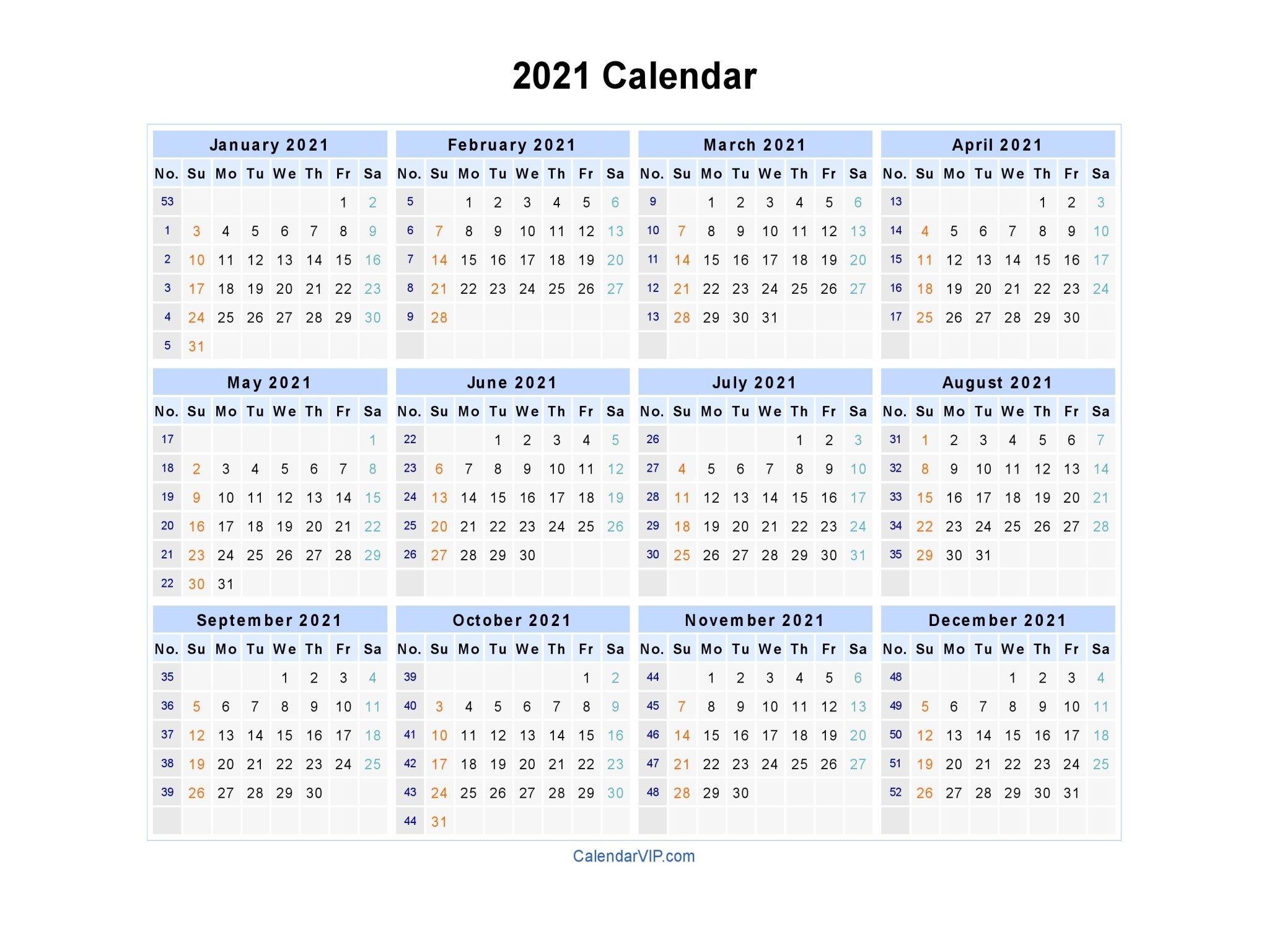 2021 Calendar Blank Printable Calendar Template In Pdf