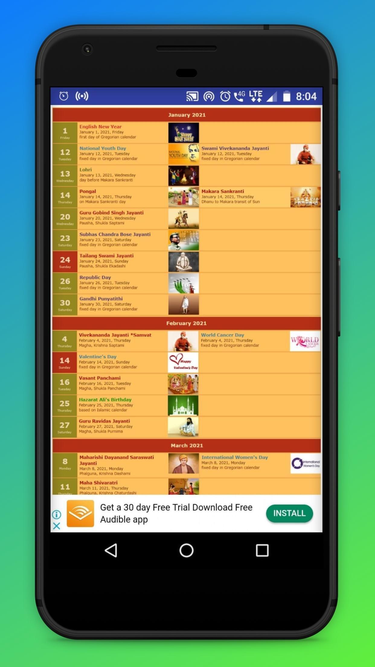 2021 Calendar Hindi Calendar 2021 With Festival For
