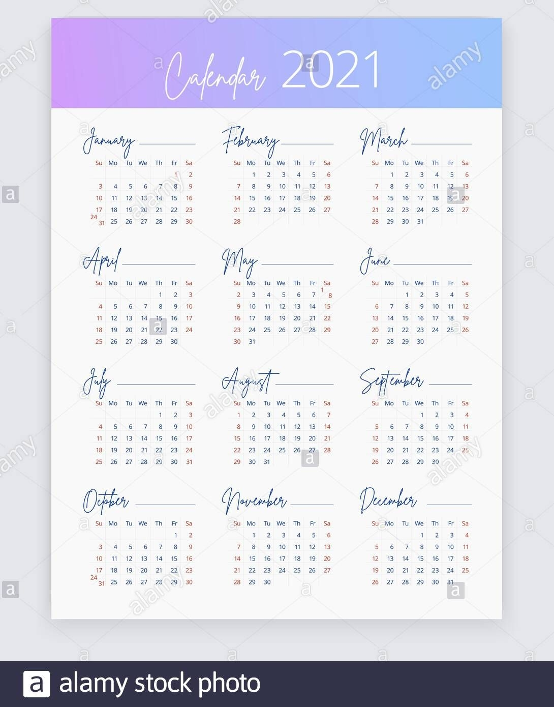 2021 calendar in english vertical web, poster, banner, card