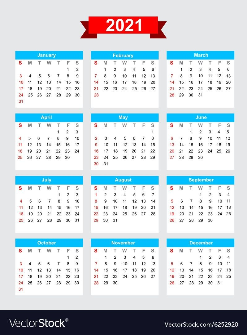 2021 Calendar Week Start Sunday