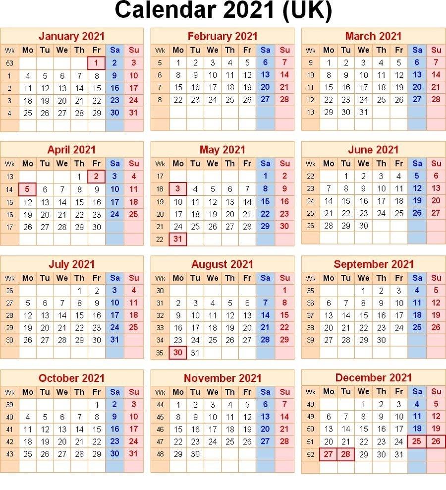 2021 calendar with week numbers free 365 days | free