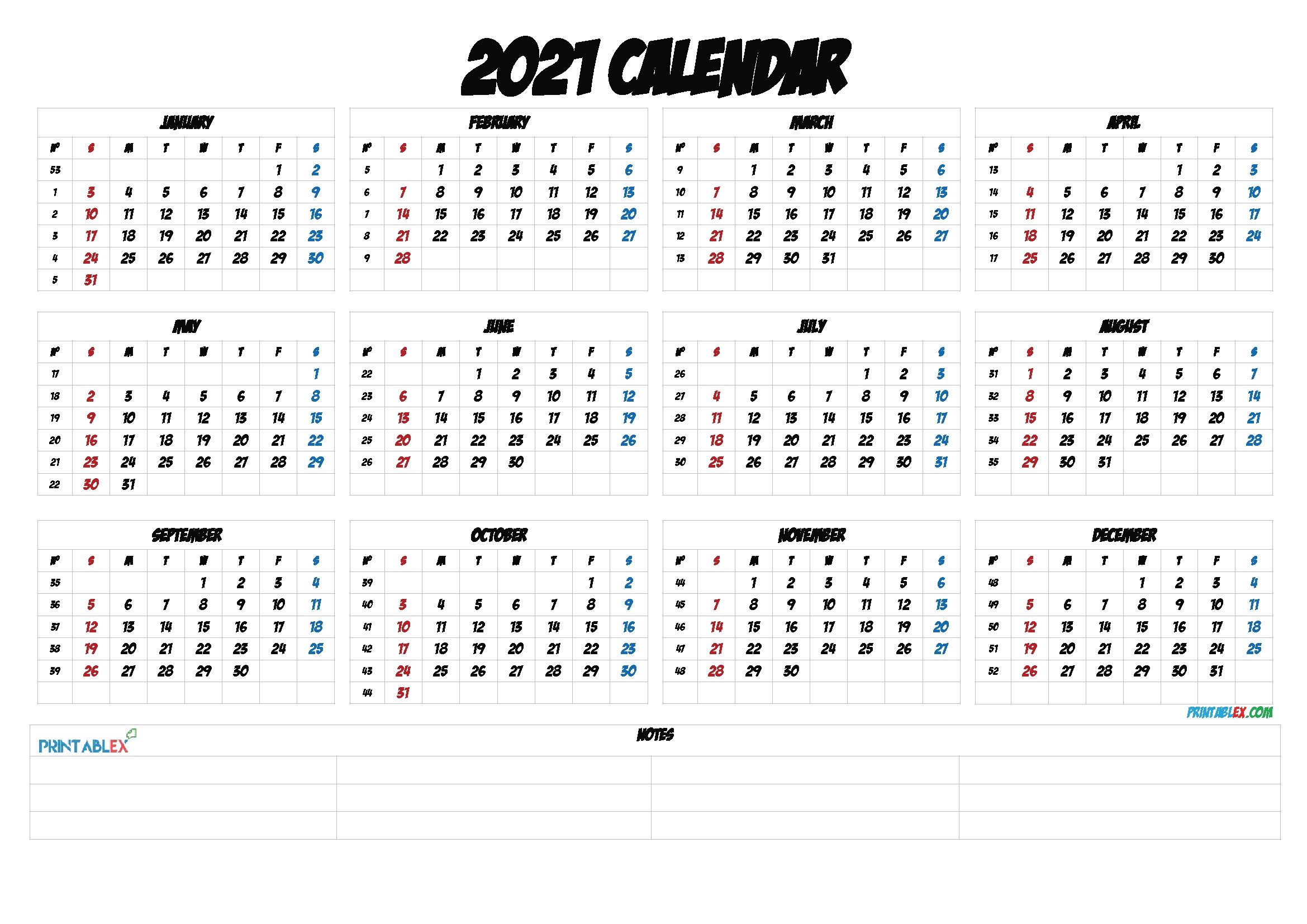 2021 Calendar With Week Numbers Printable – 12 Templates