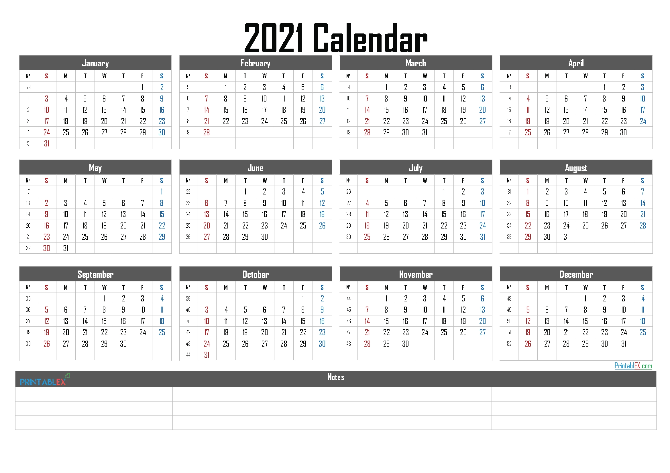 2021 Calendar With Week Numbers Printable – 21ytw19 – Free