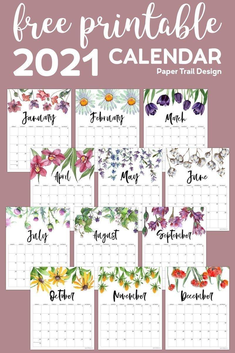 2021 Free Printable Calendar Floral | Paper Trail Design