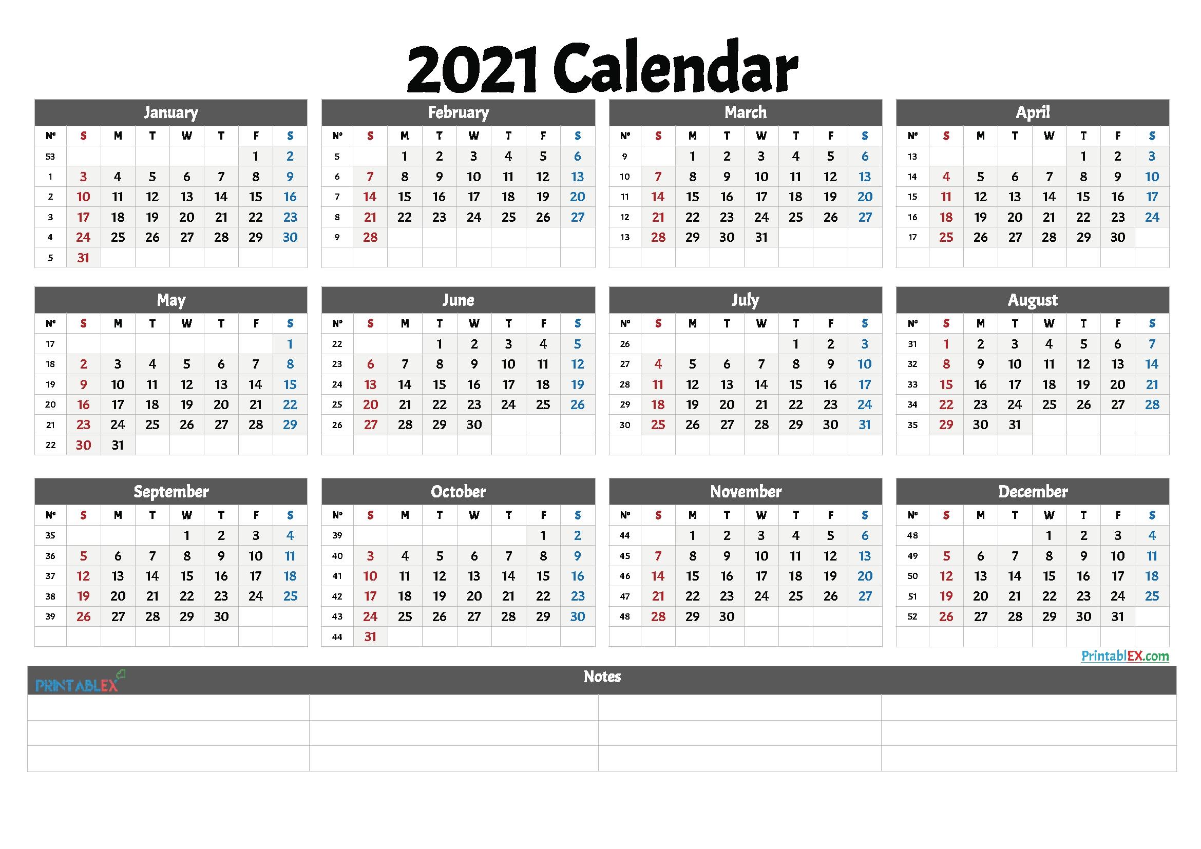 2021 free printable yearly calendar with week numbers in