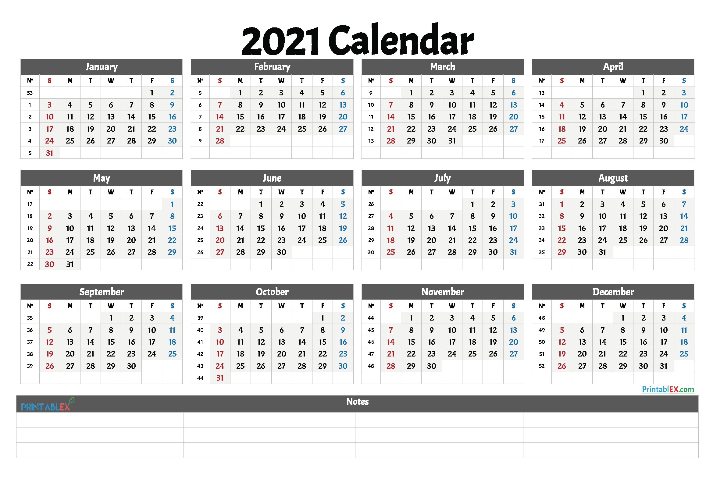 2021 Free Printable Yearly Calendar With Week Numbers In