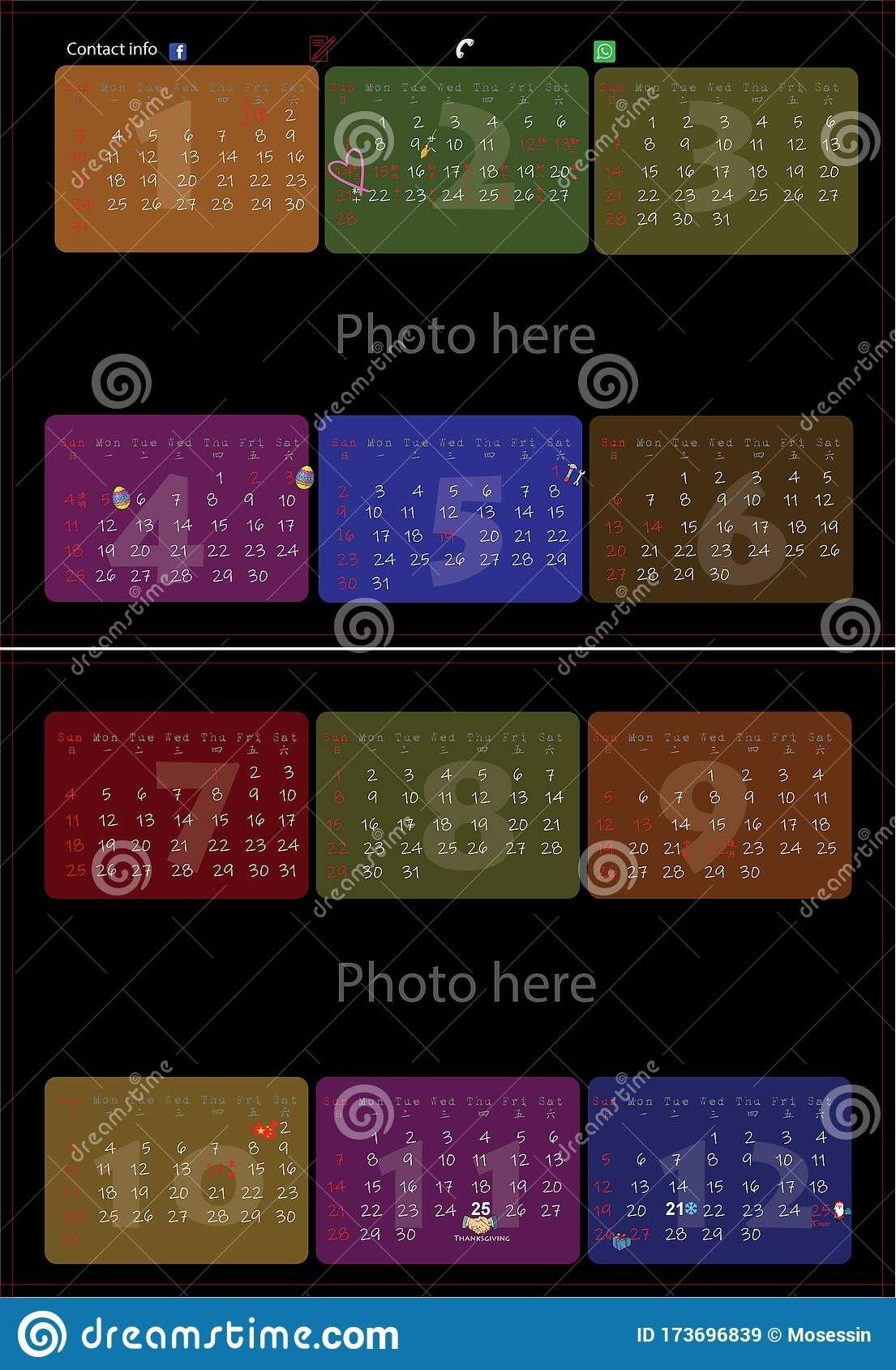2021 hk calendar template vector stock vector illustration