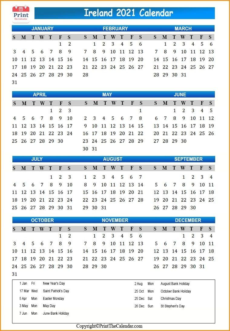 2021 Holiday Calendar Ireland | Ireland 2021 Holidays