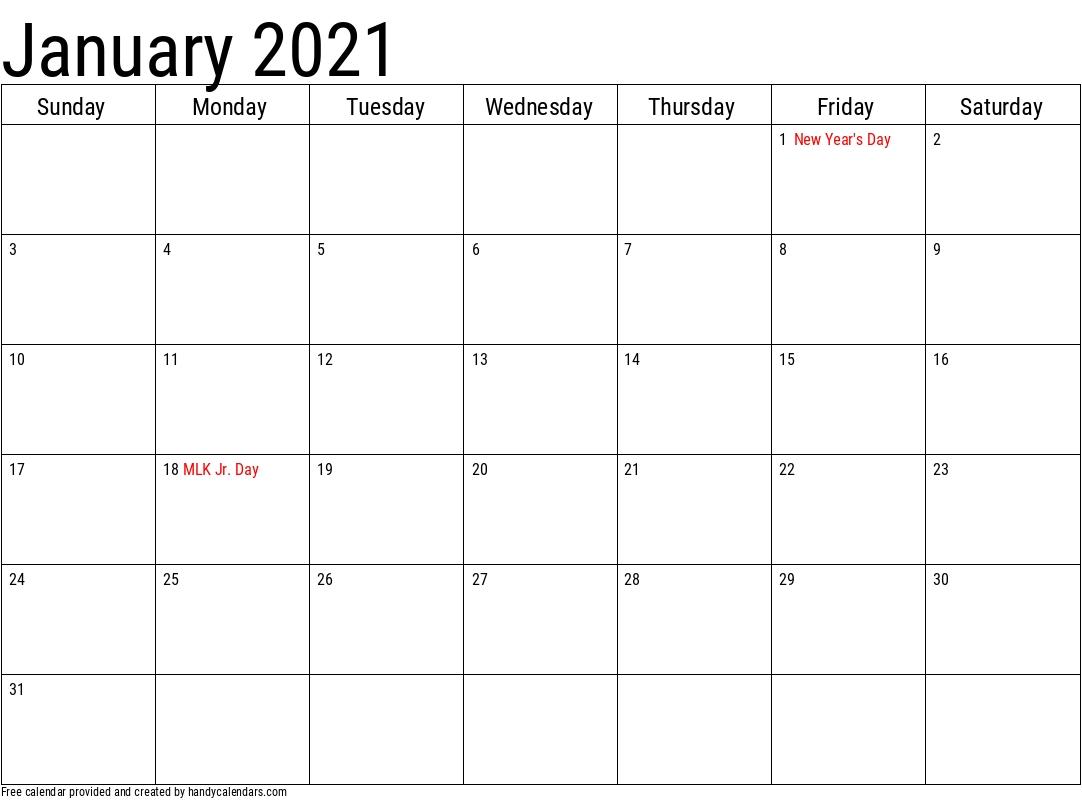 2021 January Calendars Handy Calendars