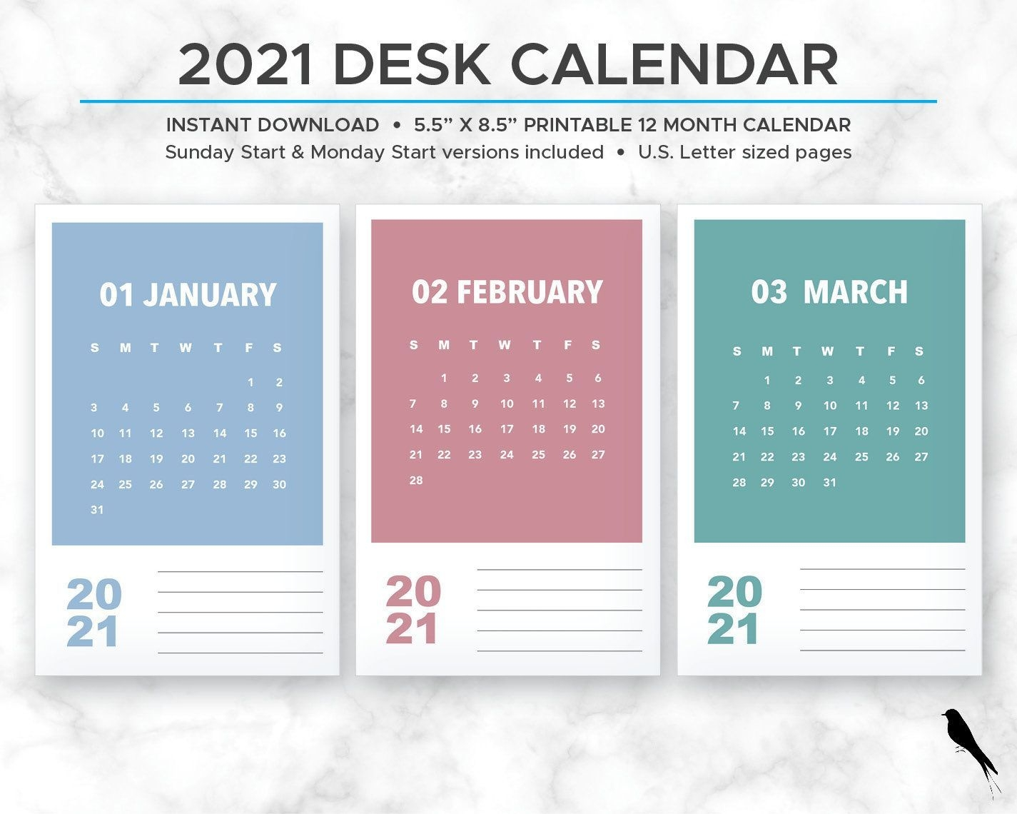 2021 printable monthly calendar modern rainbow color block
