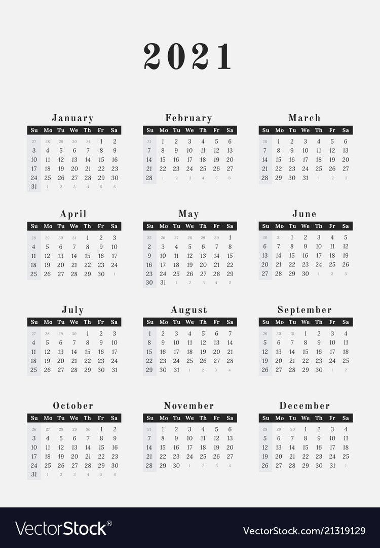 2021 Year Calendar Vertical Design