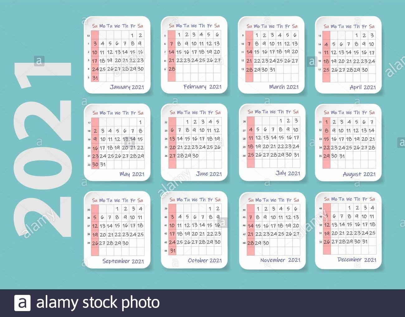 2021 Year Wall Calendar, Week Starts Sunday Twelve Sheets