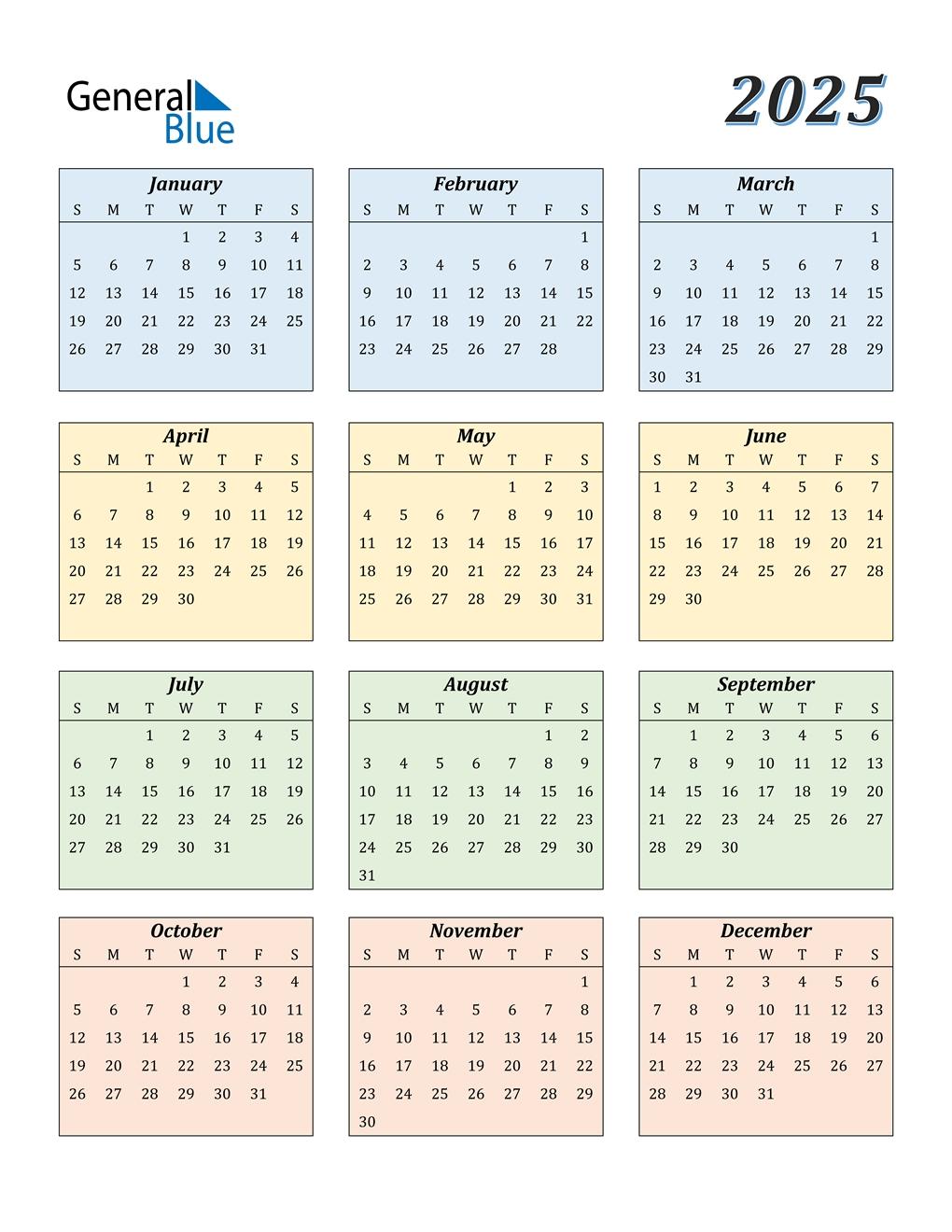 2025 Calendar (pdf, Word, Excel)
