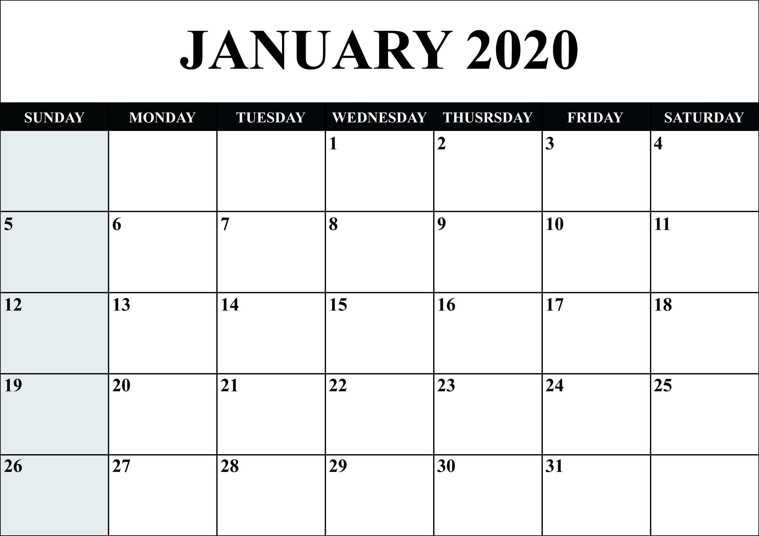 21 free blank calendar january 2020 printable fillable