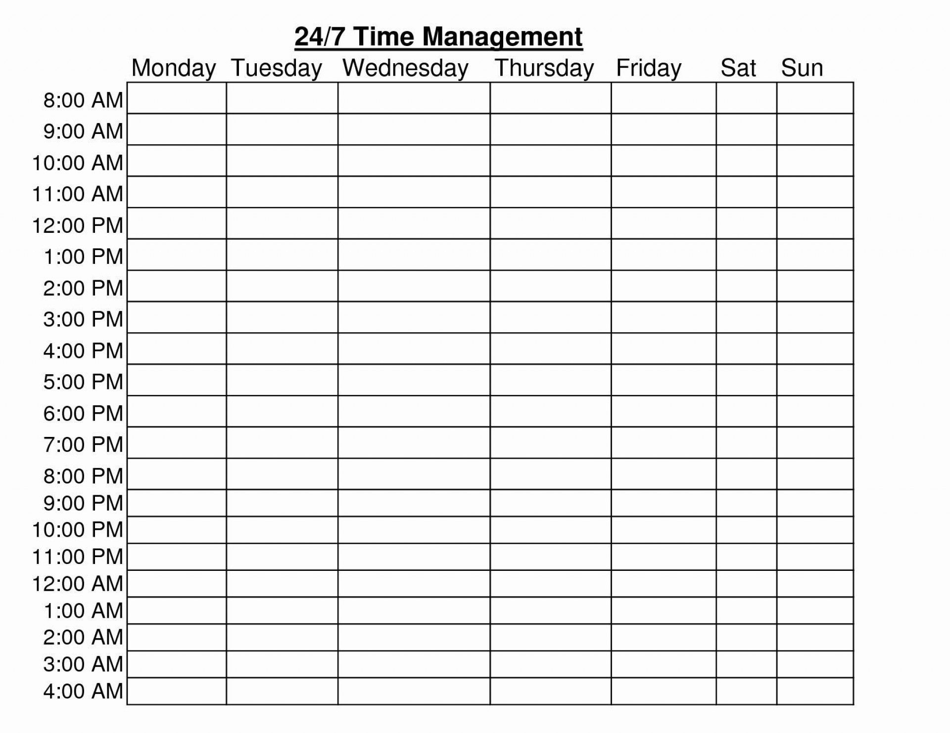 24 Hour Schedule Template Addictionary
