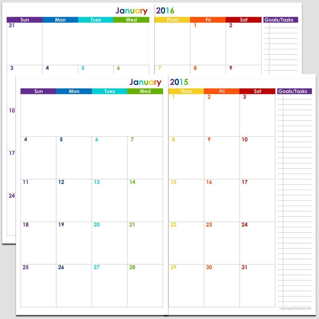 24 Months 2 Page Calendar Half Size | Legacy Templates