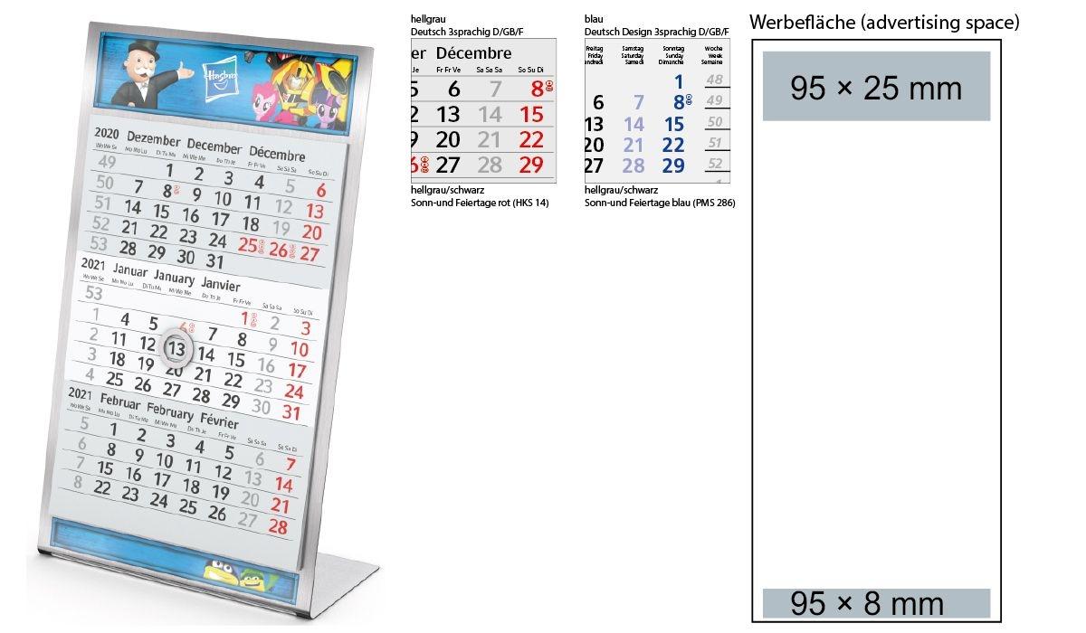 3 Month Calendar 2021 Desktop 3 Steel 1 Year | 3 Month Planner With Logo Printed | Deprismedia