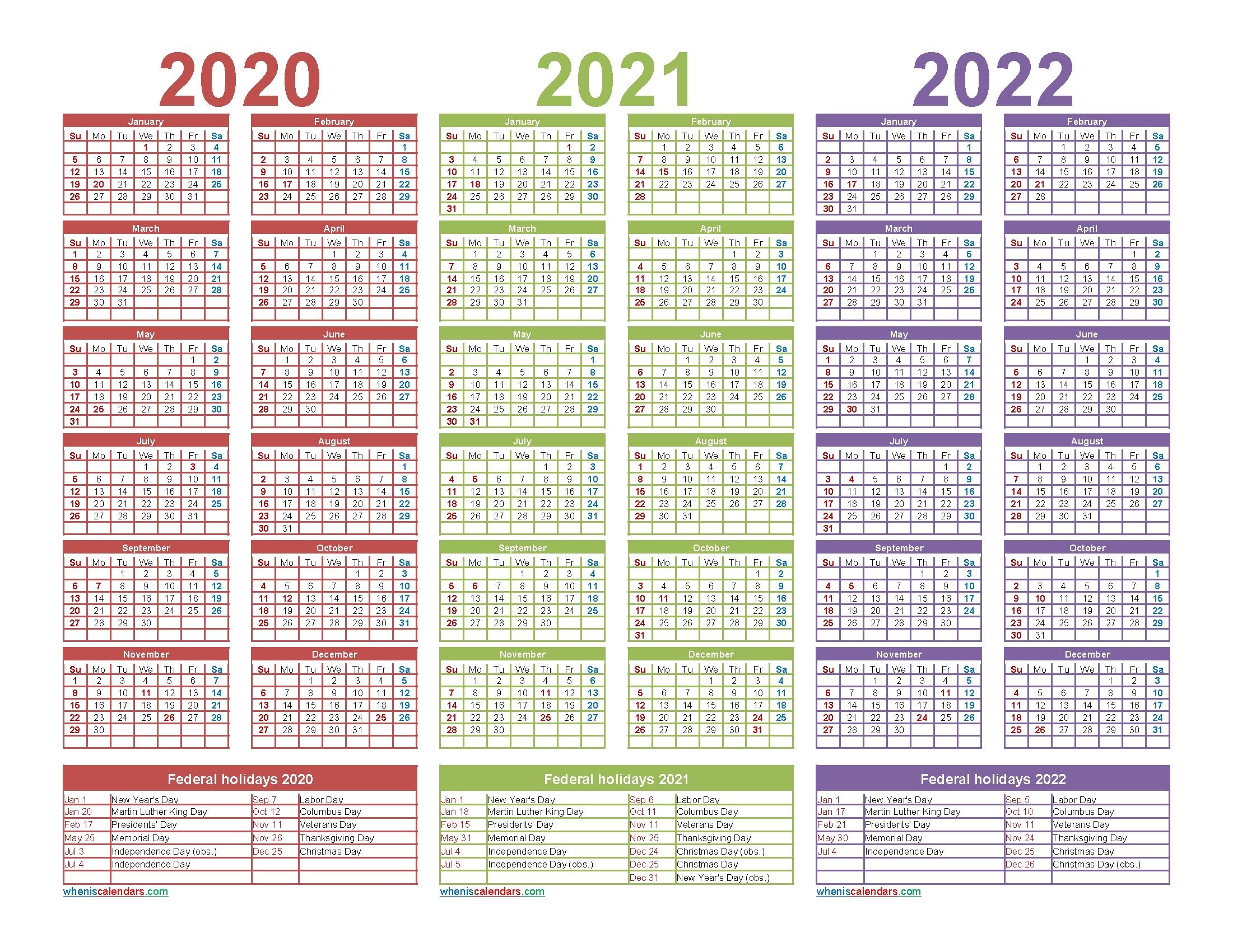 3 year calendar 2020 to 2022 printable – free printable 2020