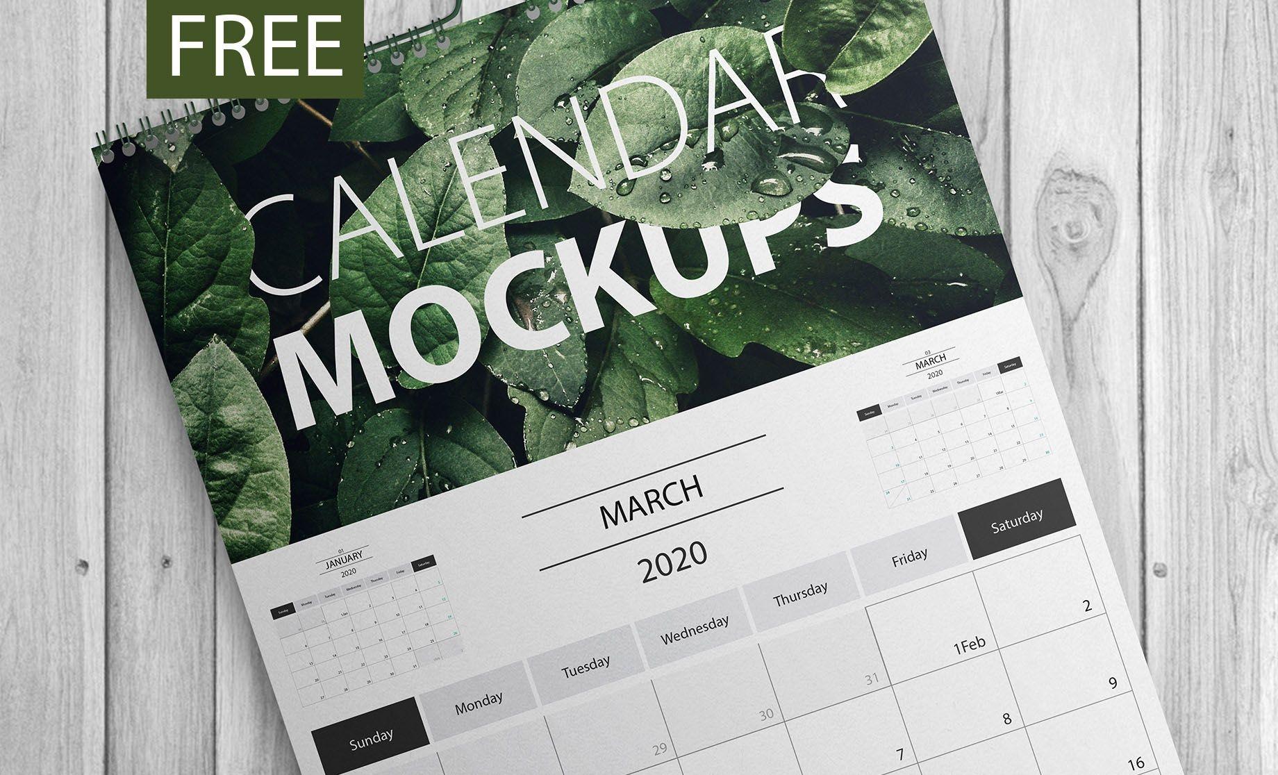 40 premium and free psd calendar templates & mockups to