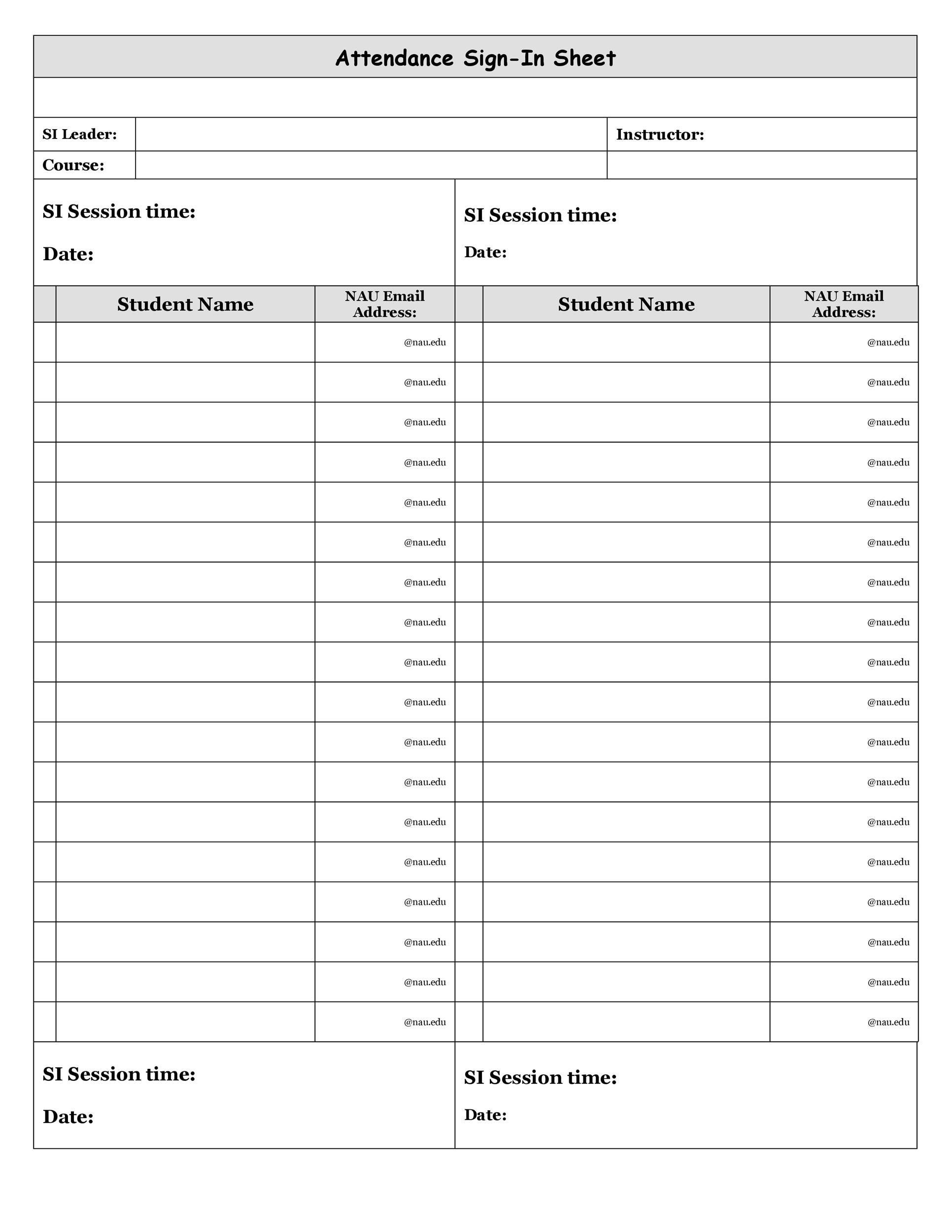 43 Free Printable Attendance Sheet Templates Templatelab