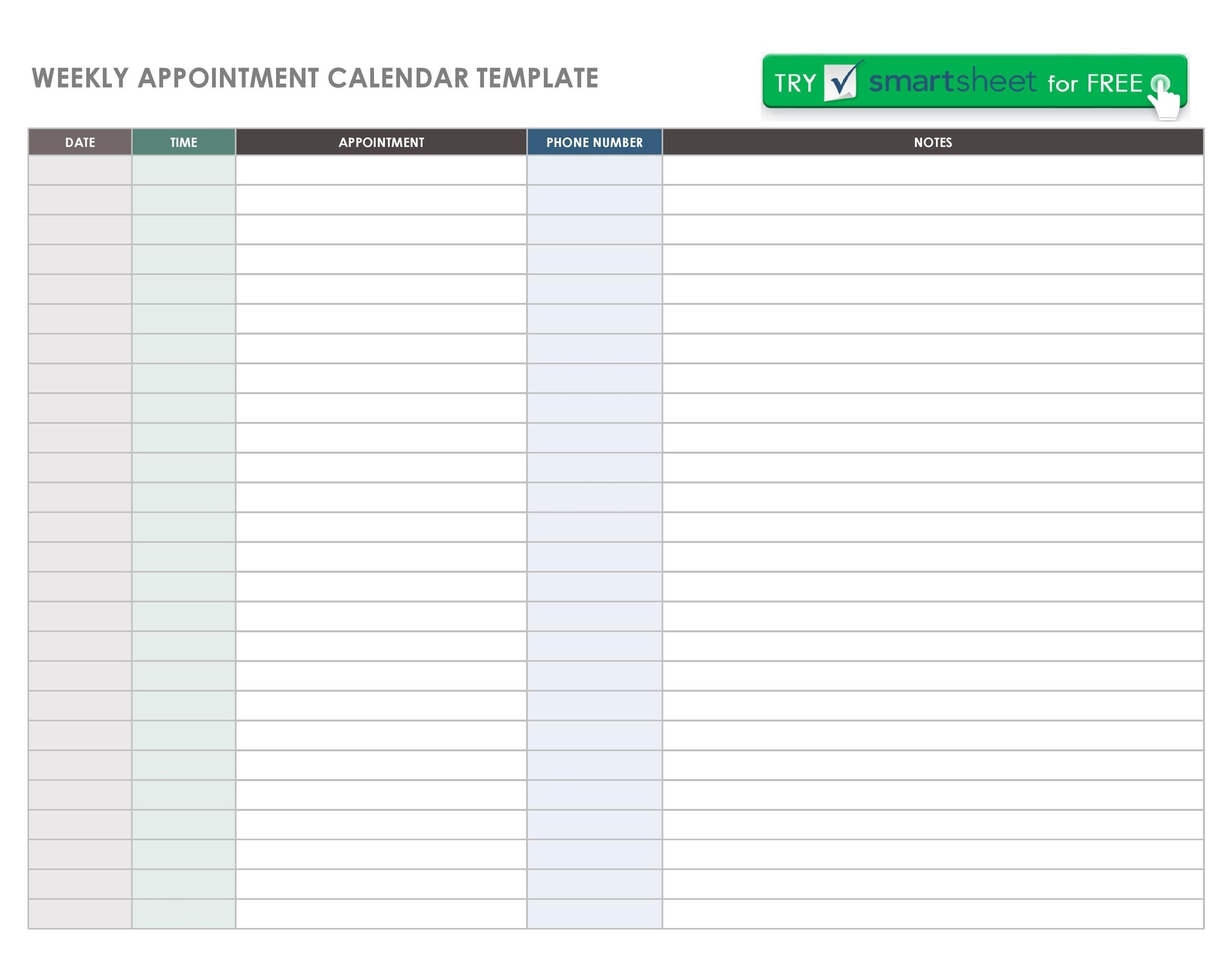 45 printable appointment schedule templates [& appointment