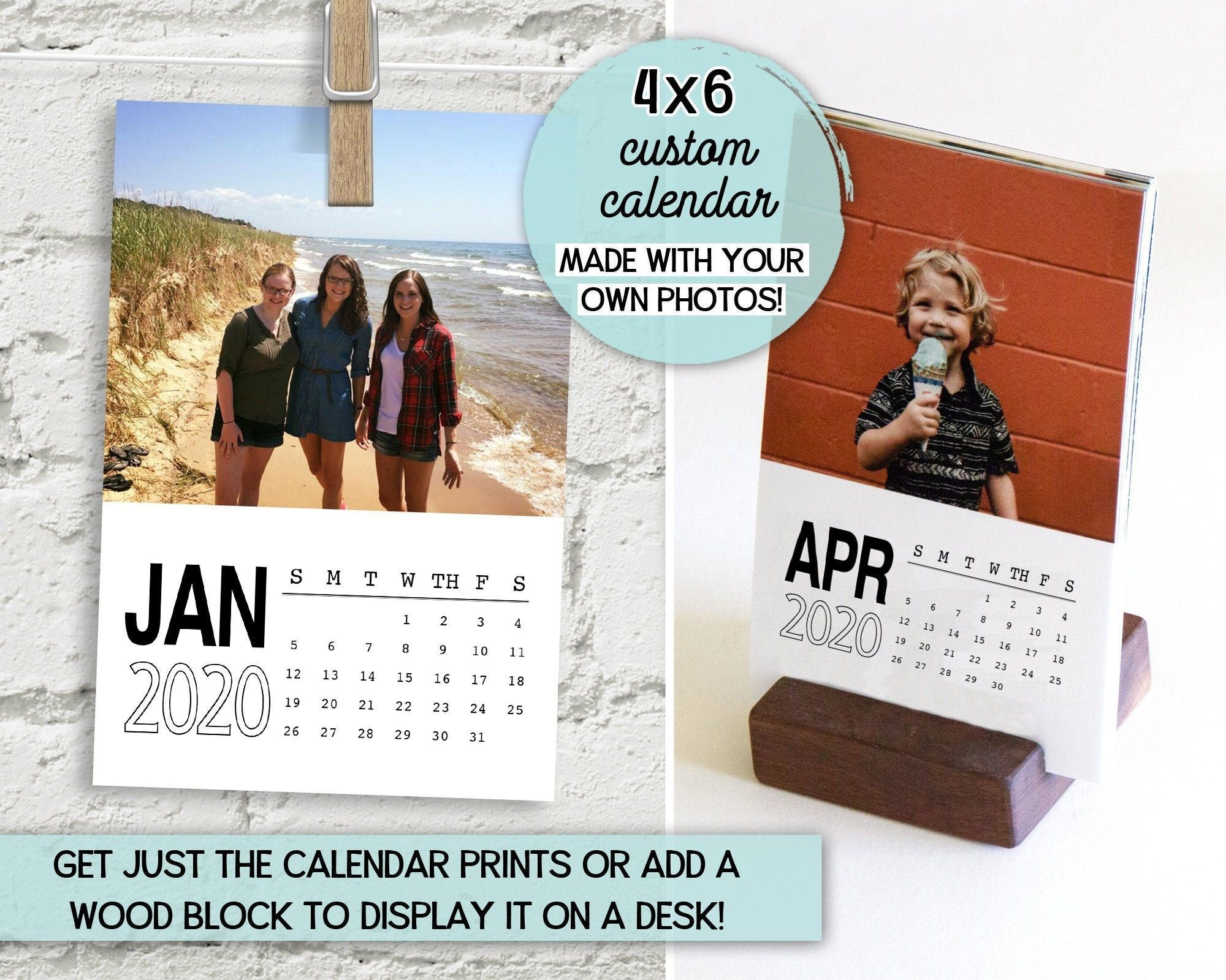 4x6 desk calendar, custom calendar 2020, personalized calendar, gifts for dad, custom photo calendar, wood block calendar with wood stand
