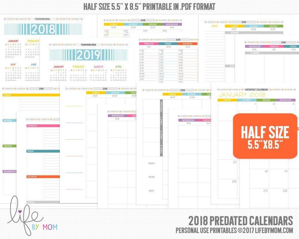 5 5 x 8 5printable pdf 2018 planner calendars | planner