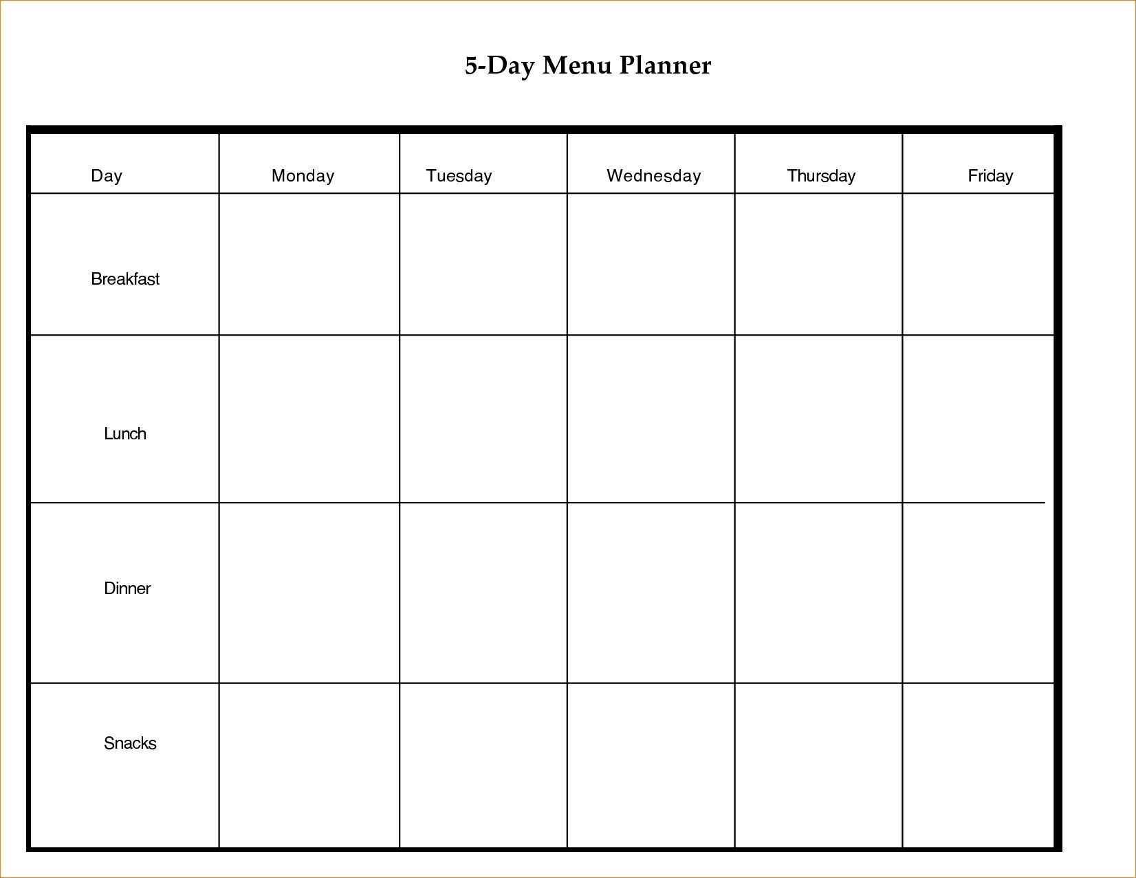 5 Day Weekly Timetable Blank 6 Periods   Template Calendar