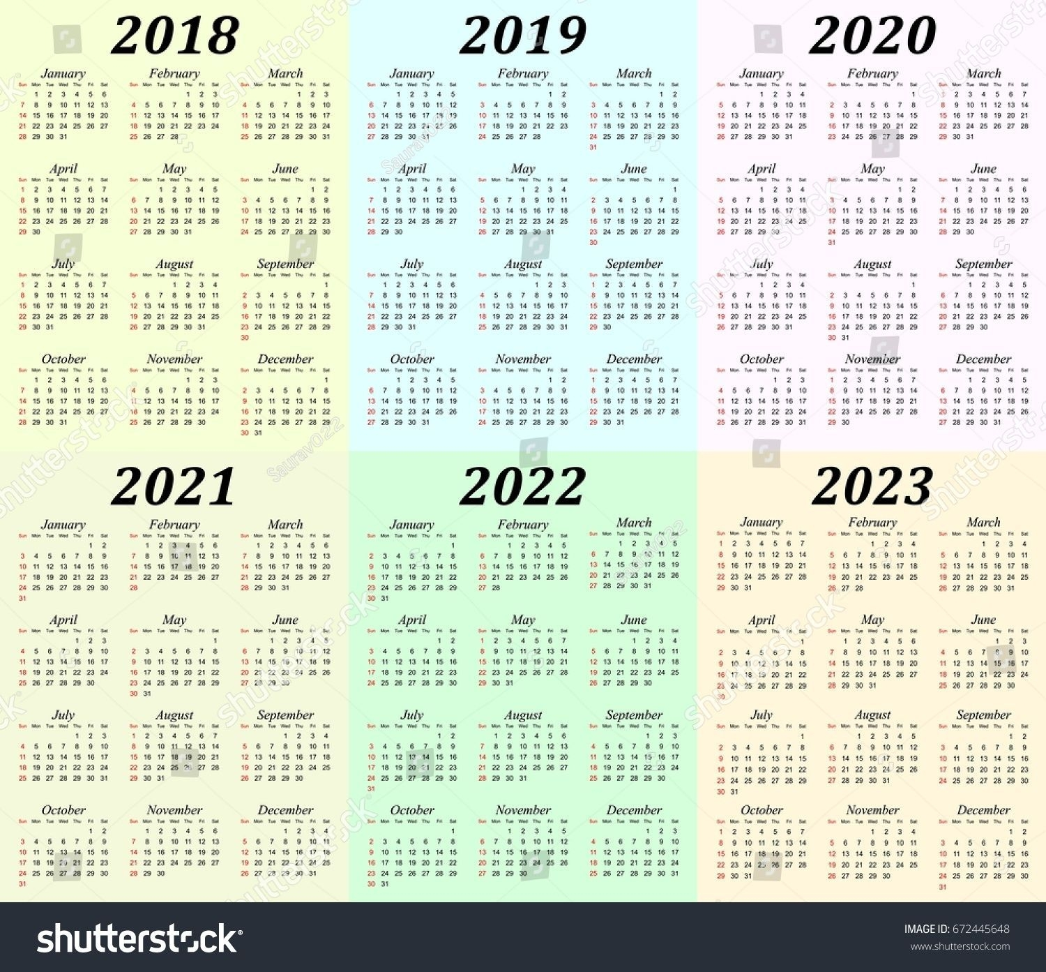 5 Year Calendar 2019 To 2023 In 2020 | Calendar Printables