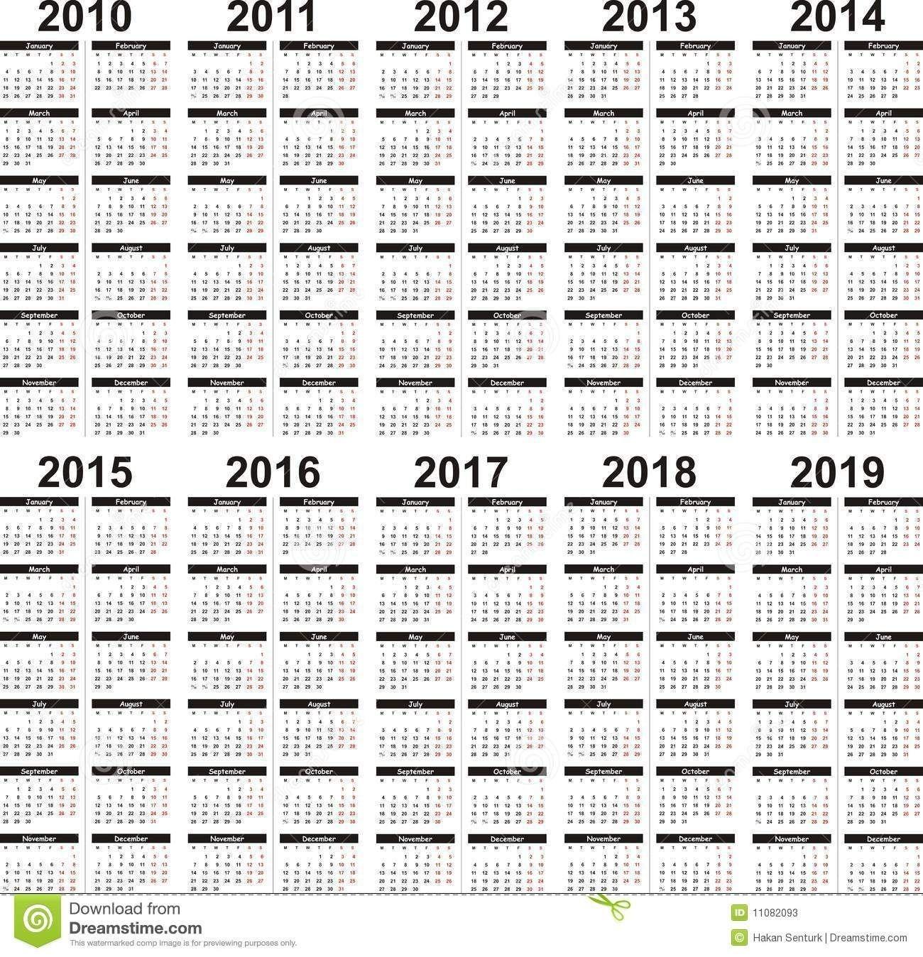 5 Year Calendar   5 Year Calendar, Calendar Printables, Calendar
