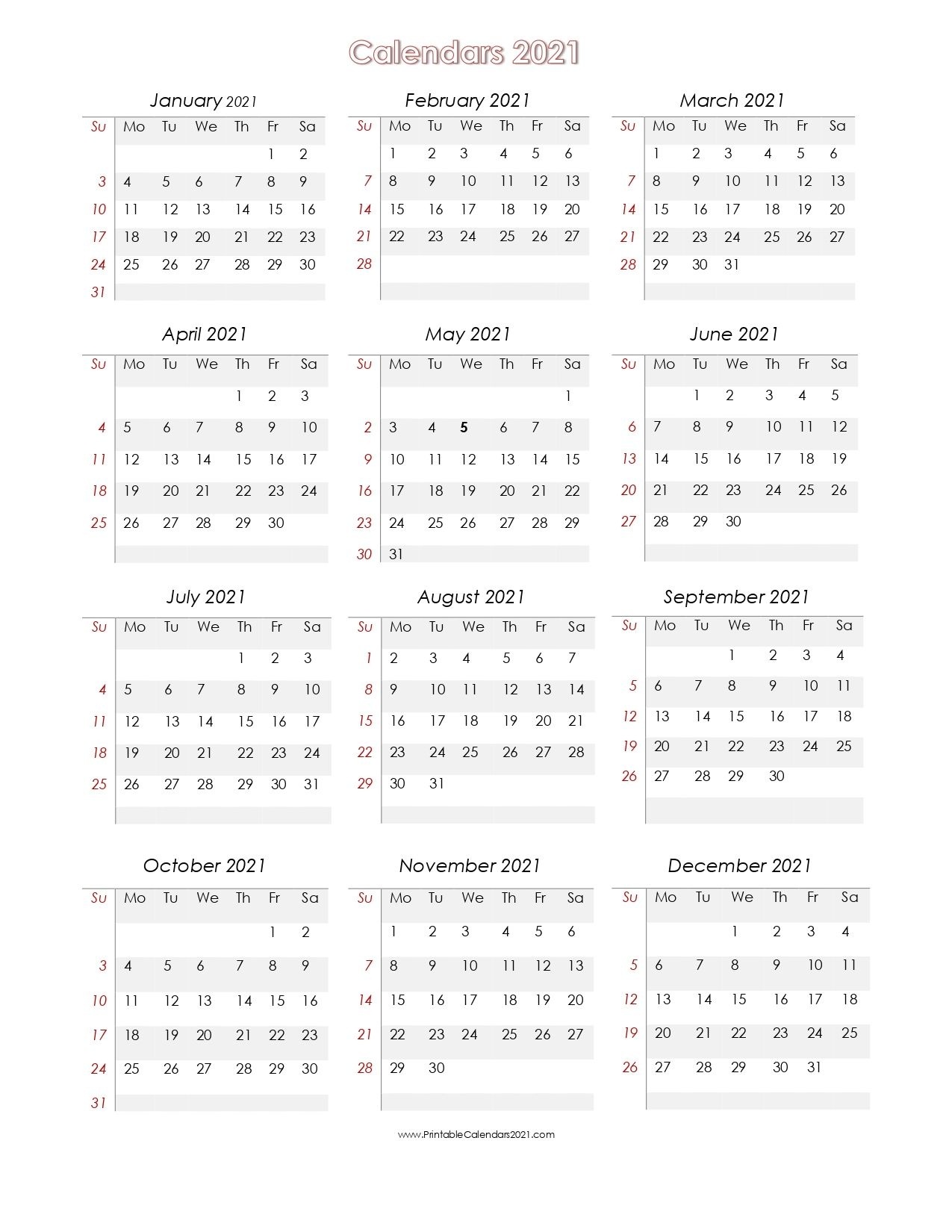 56 Printable Calendar 2021 One Page, Printable 2021 Yearly