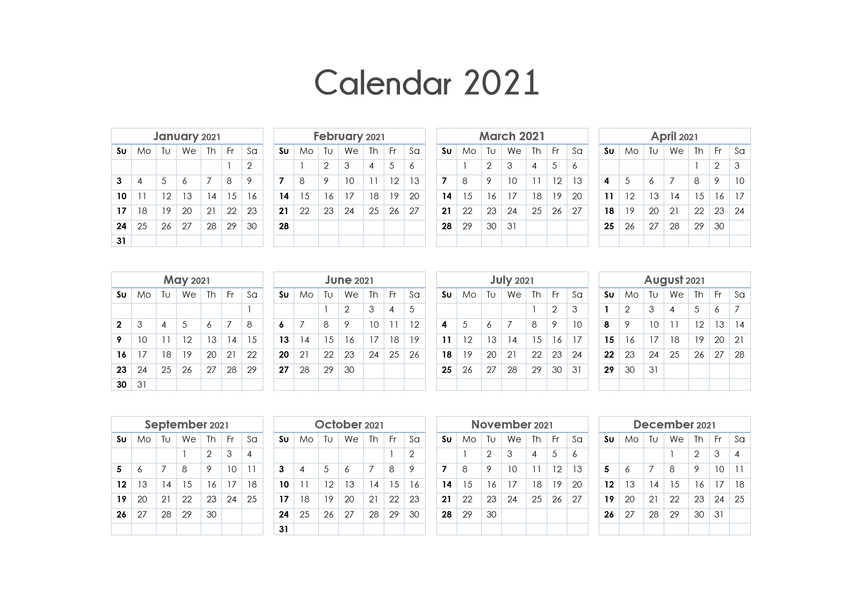56 Printable Calendar 2021 One Page, Printable 2021 Yearly
