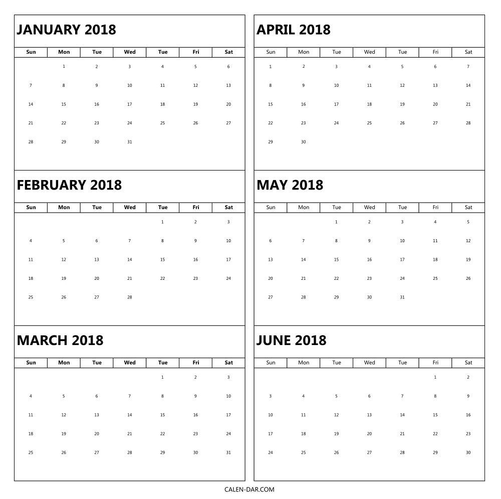 6 month 2018 calendar printable | blank calendar template