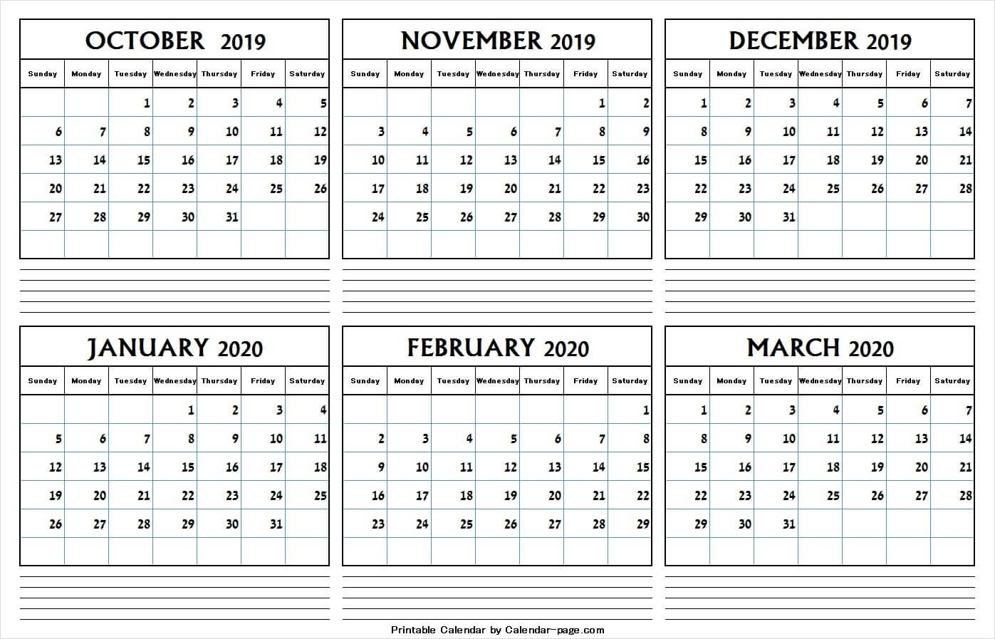 6 Month Calendar October 2019 And March 2020 | Editable Png
