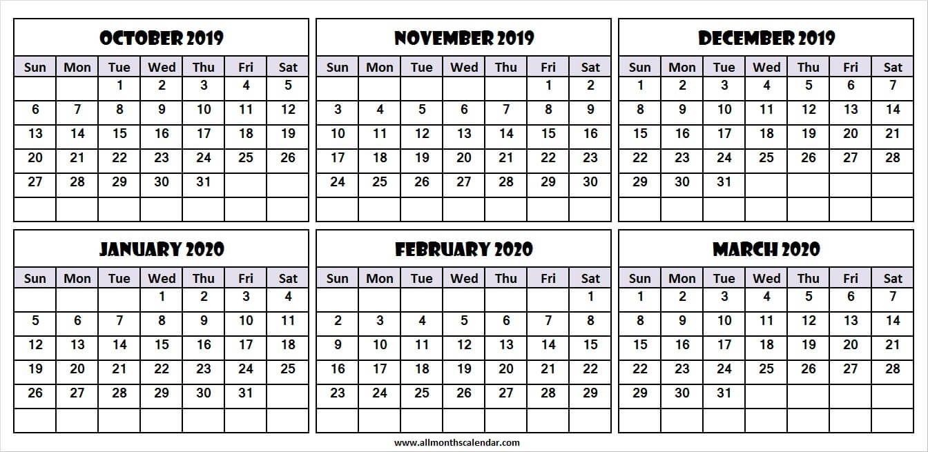 6 Month Calendar October 2019 To March 2020 | Month Calendar