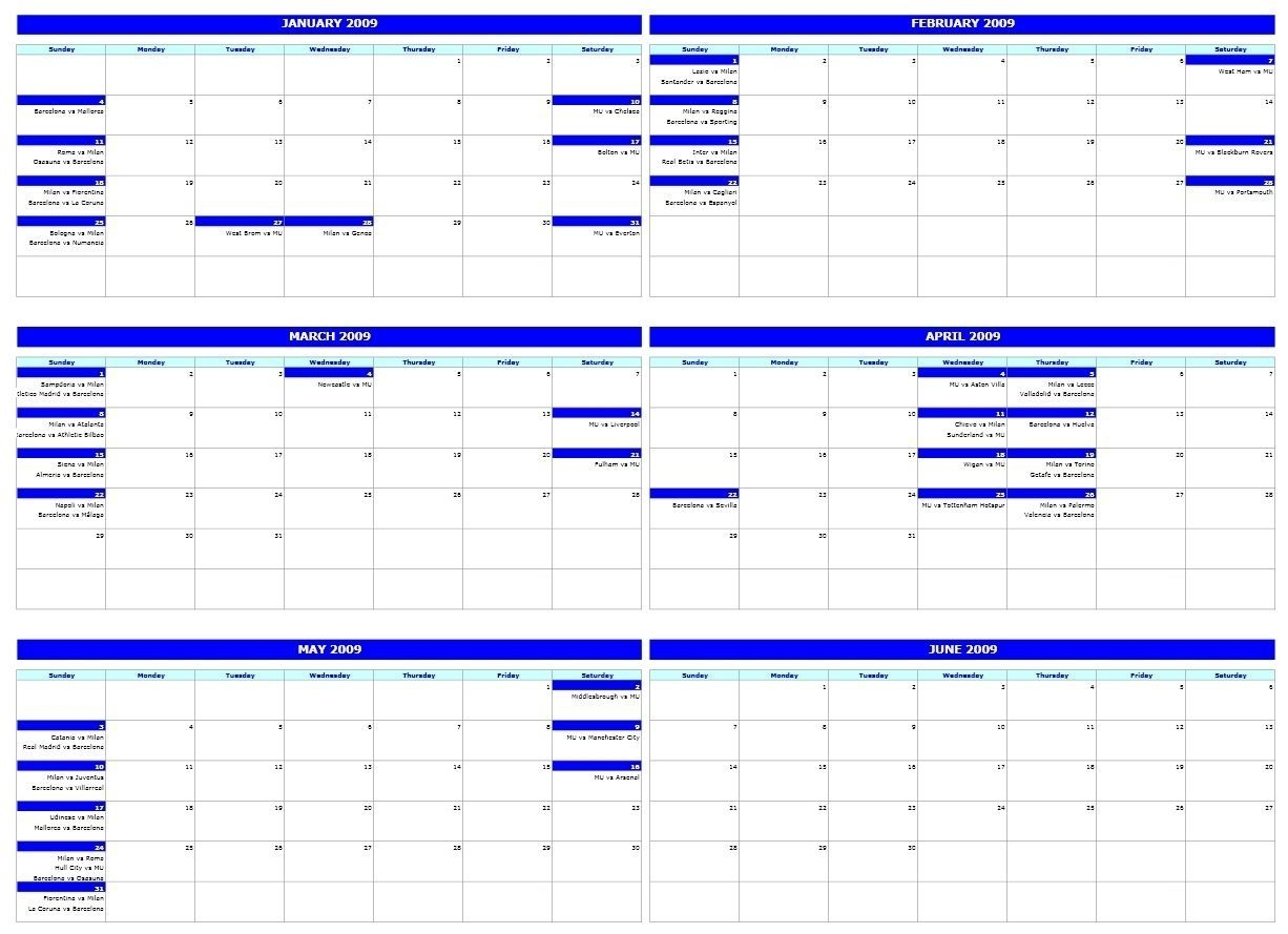 6 Month Calendar Template In 2020 | Excel Calendar Template
